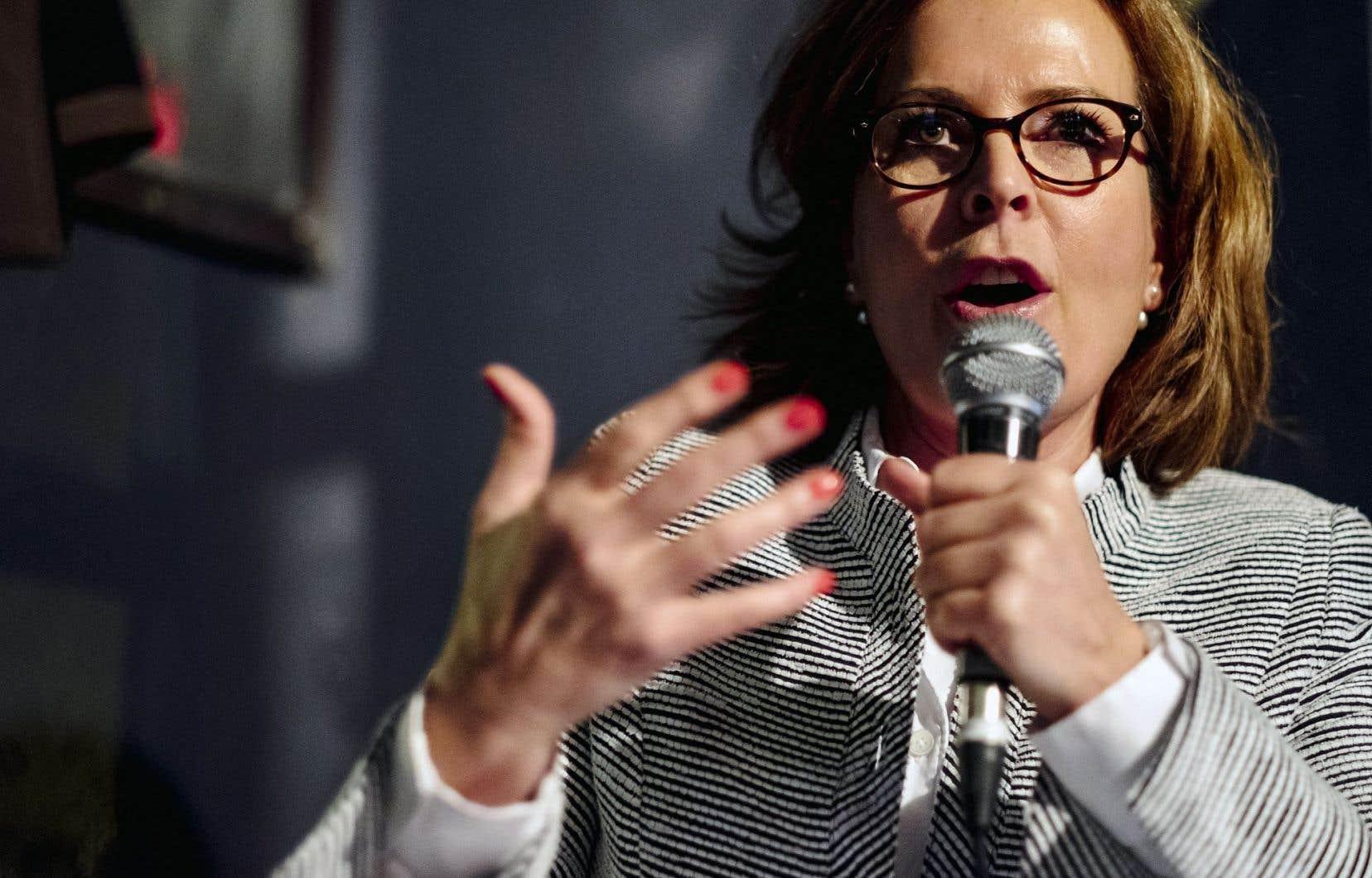 L'architecte Anne Guérette a été élue à la tête de Démocratie Québec. Ci-dessus, l'aspirante chef au débat du 11novembre de la course à la direction.