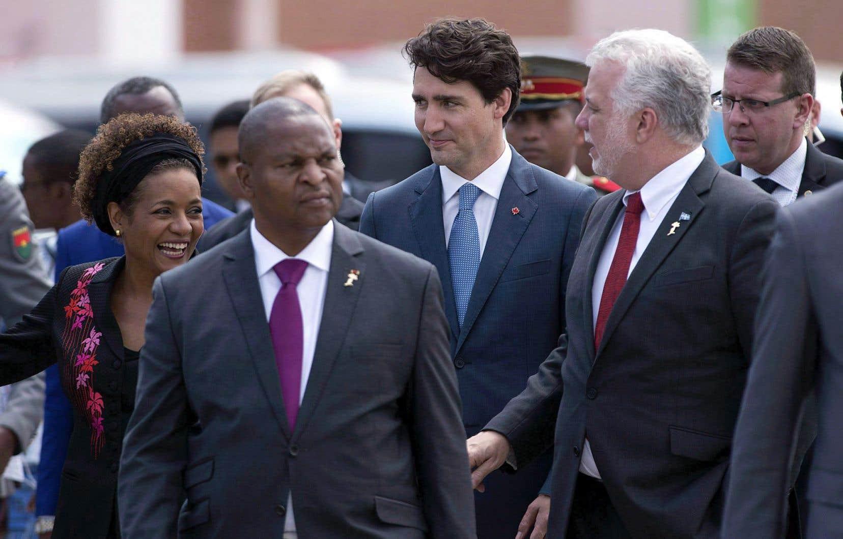 La secrétaire générale de l'OIF, Michaëlle Jean, le premier ministre du Canada, Justin Trudeau, et le premier ministre québécois, Philippe Couillard, lors du Sommet de Madagascar, en novembre
