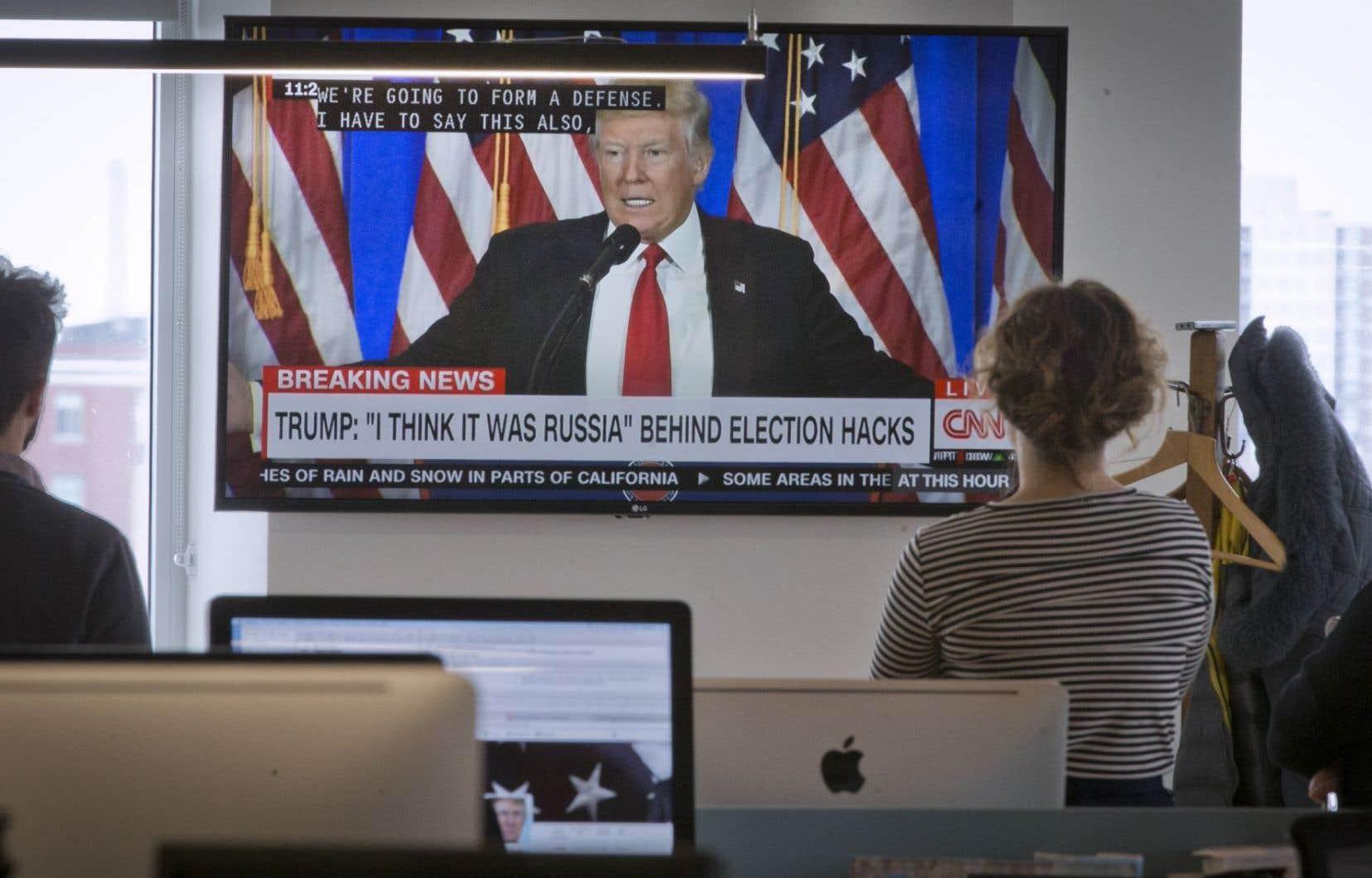 Donald Trump a tenu sa première conférence de presse depuis son élection, il y a deux mois.