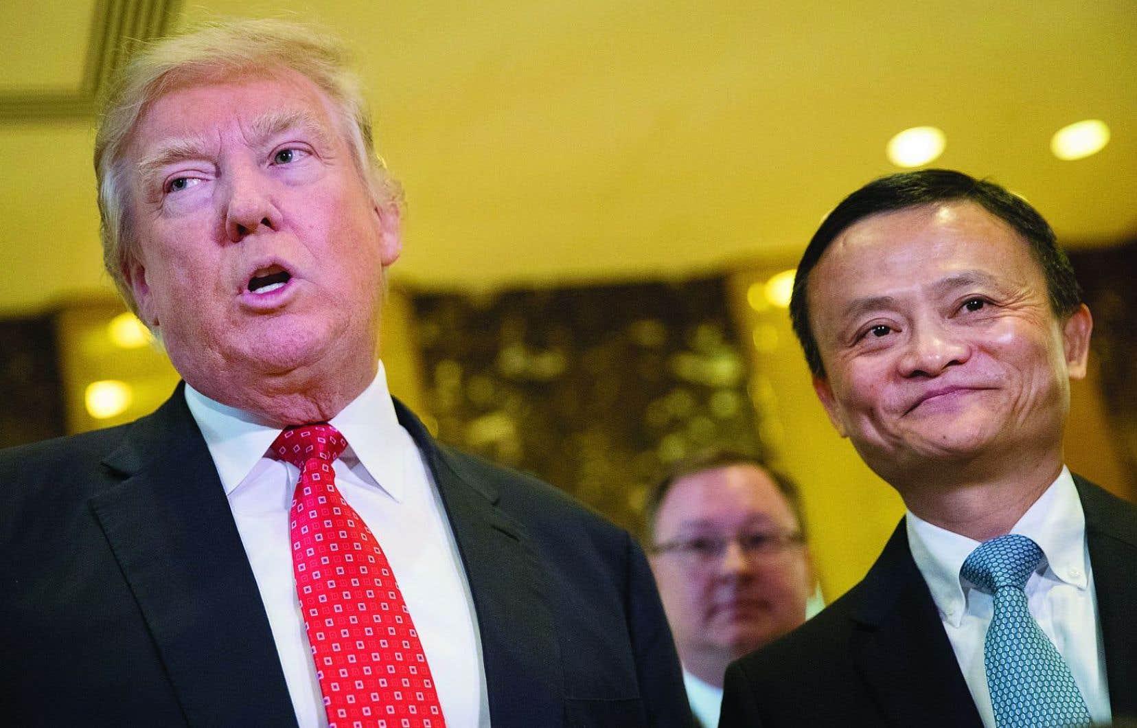 Le président désigné Donald Trump et le patron d'Alibaba, Jack Ma, lundi lors de leur rencontre