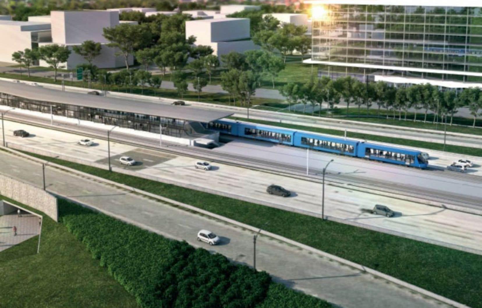 Une maquette du futur train tel que vu par la CDPQ