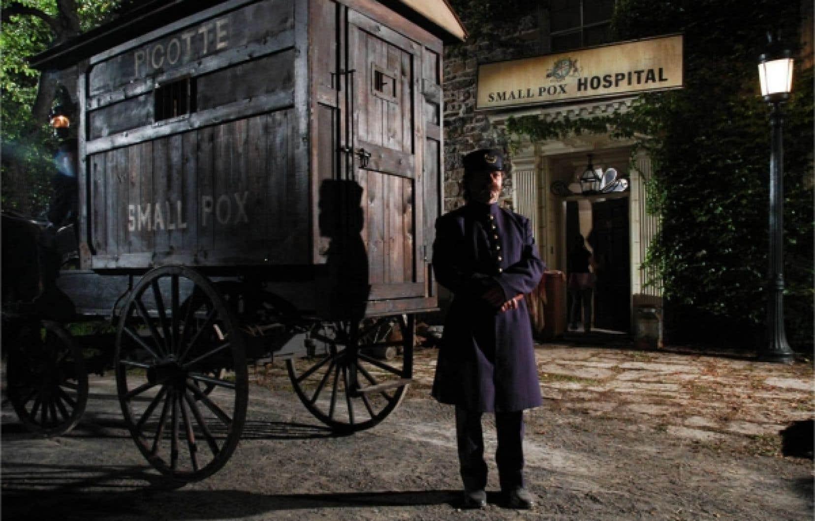 Au cours de l'épidémie de variole qui a frappé Montréal en 1885, une charrette sillonnait les rues de la ville. On y embarquait les enfants infectés, le plus souvent des francophones des quartiers défavorisés, afin de les mettre en quarantaine.