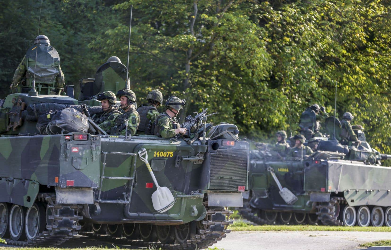 Des blindés de l'armée suèdoise, ici en 2016