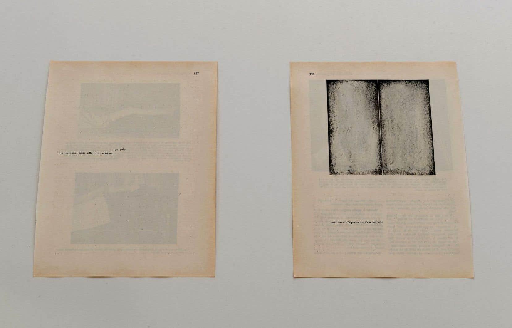 Le livre médical retravaillé par Sophie Jodoin devient un corps sur lequel les ablations sont génératrices; le papier jauni devient peau.