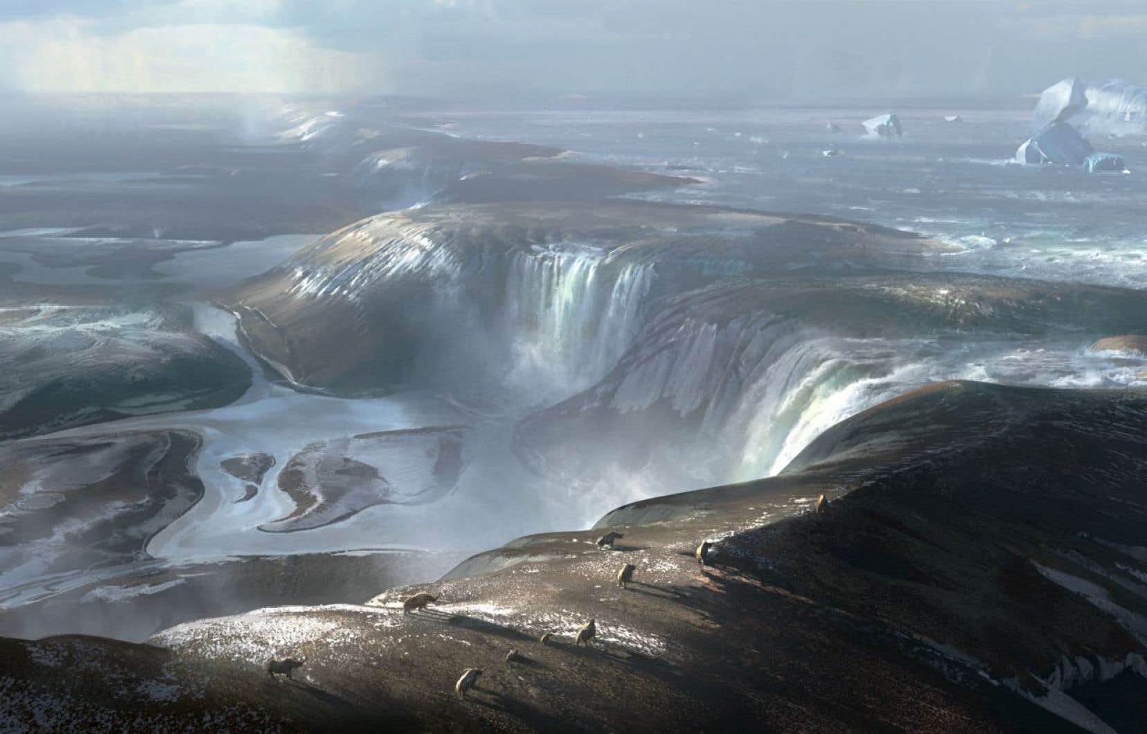 Une gigantesque chute d'eau large de dizaines de kilomètres a vraisemblablement érodé la crête rocheuse qui reliait l'Angleterre au continent européen, il y a 450 000 ans.