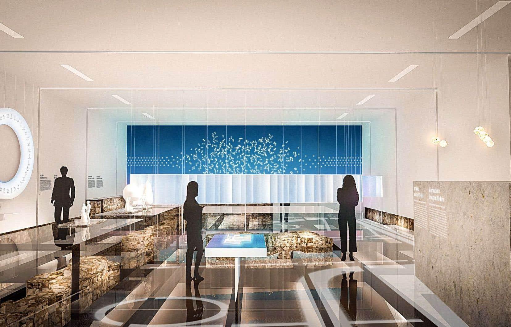 Le nouveau pavillon du fort de Ville-Marie du musée Pointe-à-Callière permettra aux visiteurs de marcher sur un plancher de verre à la grandeur du lieu.