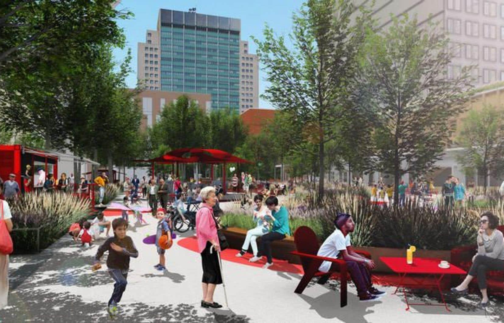 En été, une grande terrasse urbaine, de la végétation et des kiosques alimentaires occuperont la majeure partie du terrain.