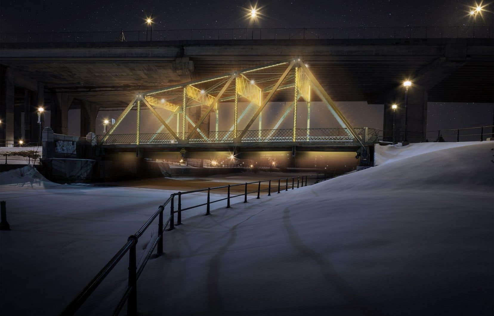 Le projet d'illumination des ponts et passerelles enjambant le canal de Lachine a été abandonné.