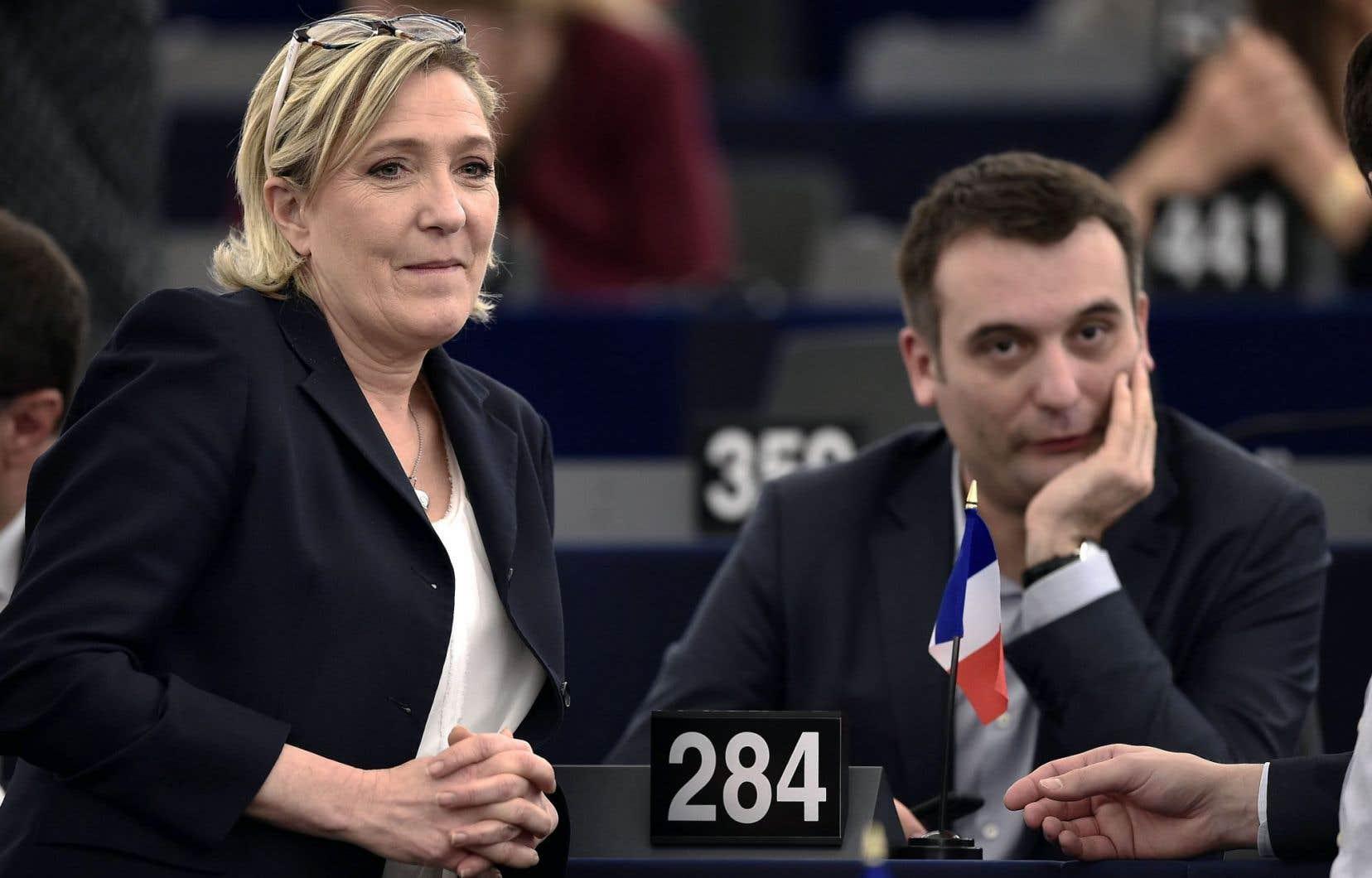 Marine Le Pen et Florian Philippot, vice-président du FN.