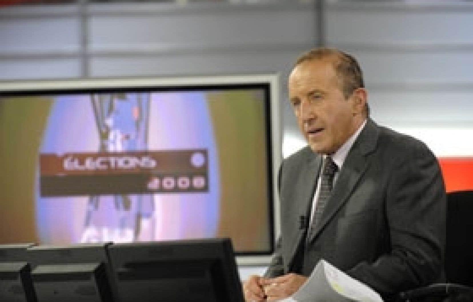 Bernard Derome présentait à Radio-Canada sa 21e et dernière soirée électorale, un record qui risque de ne jamais être battu. Photo: Radio-Canada
