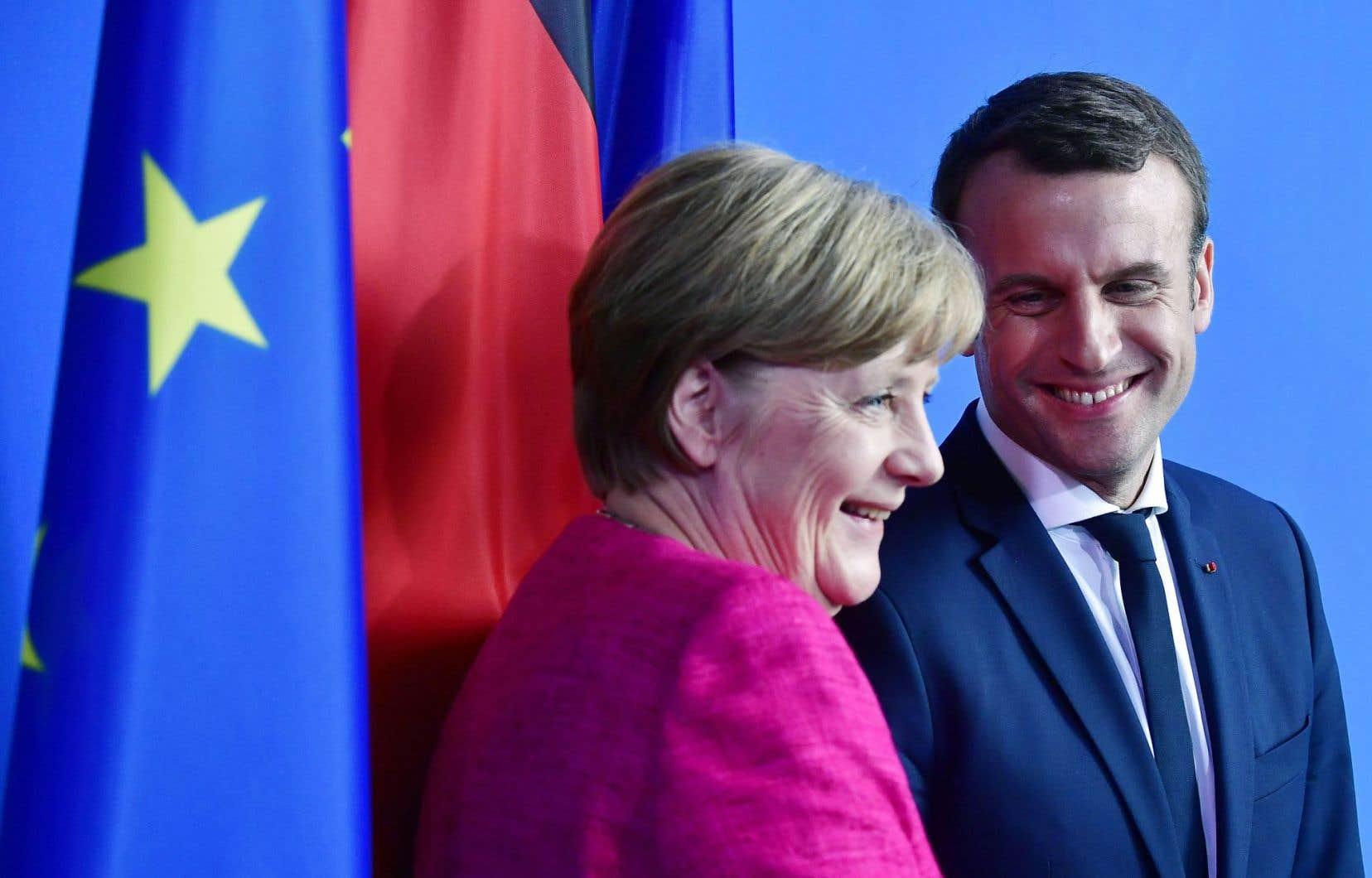 La chancelière allemande, Angela Merkel, et le nouveau président français, Emmanuel Macron