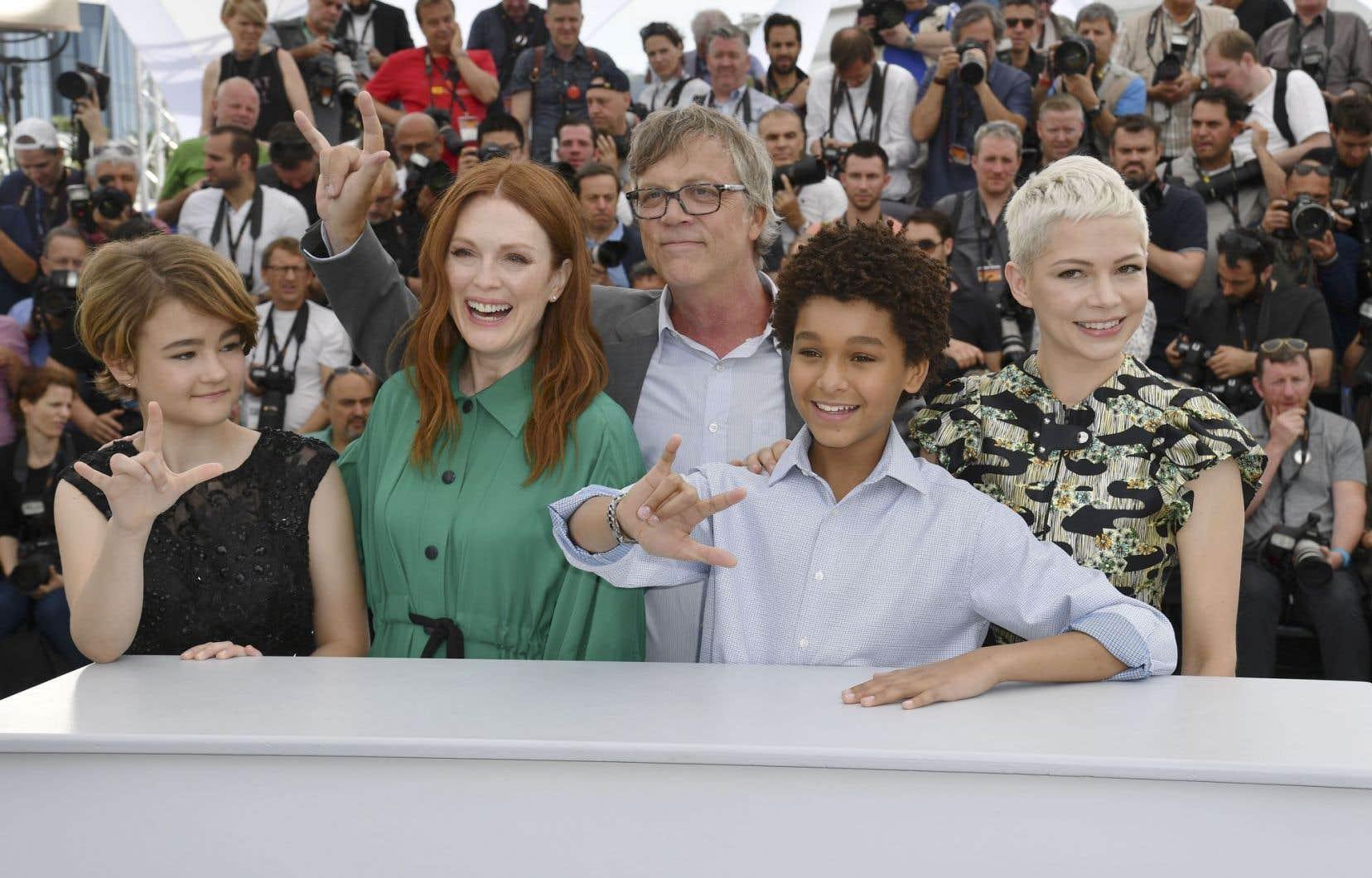 «Le casting des enfants, Millicent Simmonds et Jaden Michael, a été la base du travail sur le film», a dit le réalisateur de «Wonderstruck» à Cannes, entouré de Michelle Williams (à droite) et Julianne Moore, son actrice fétiche.