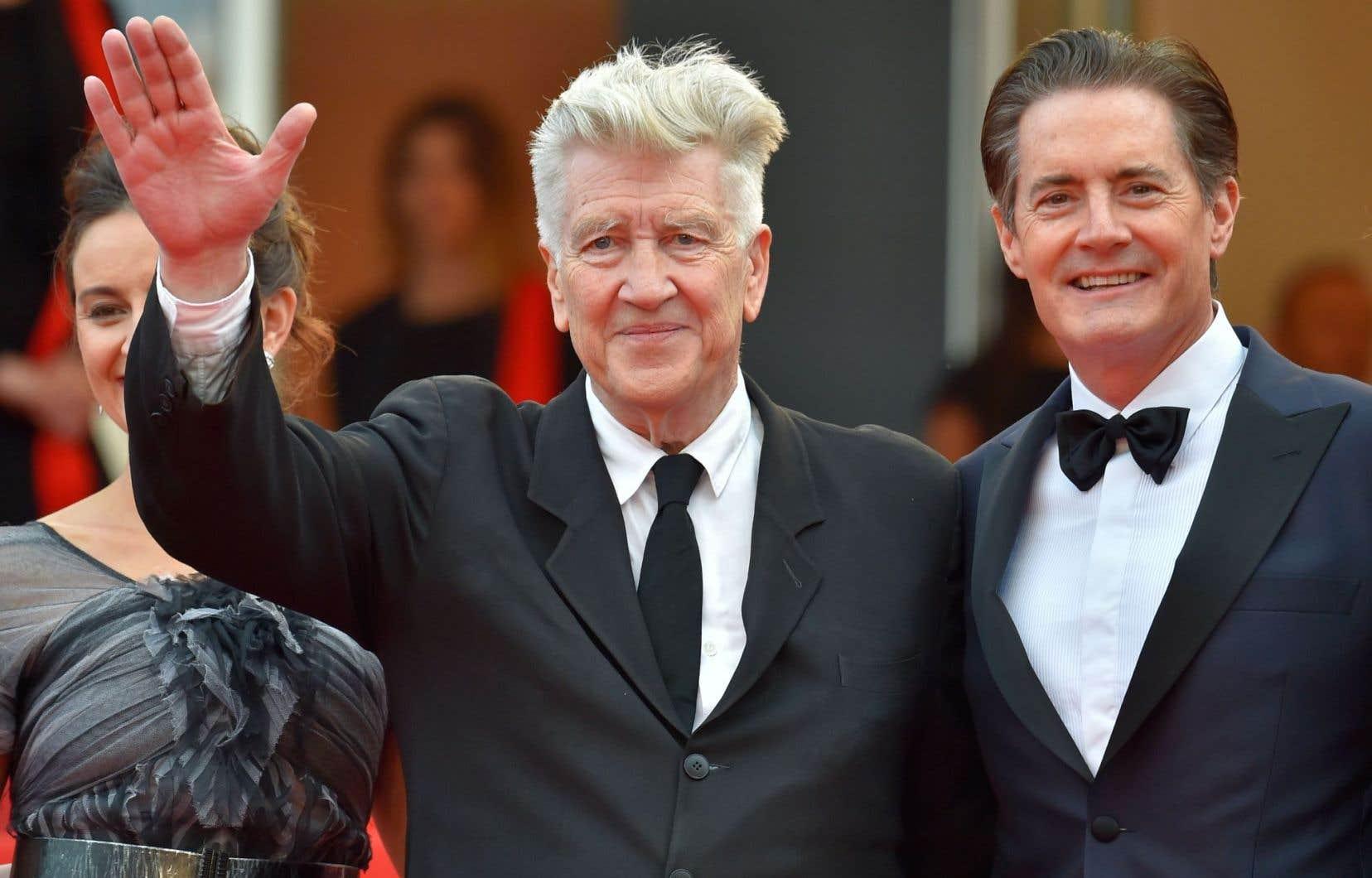 David Lynch est idolâtré à Cannes et la Croisette ne l'avait pas revu depuis 15ans. Sur le tapis rouge avec l'acteur Kyle MacLachlan.