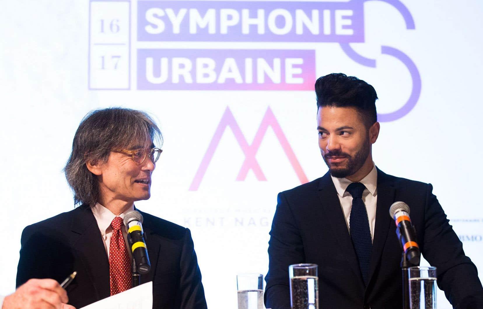 «Il y avait un réel effort de ma part de penser à Montréal en écrivant cette pièce», affirme Samy Moussa (à droite), ici aux côtés du chef d'orchestre Kent Nagano.