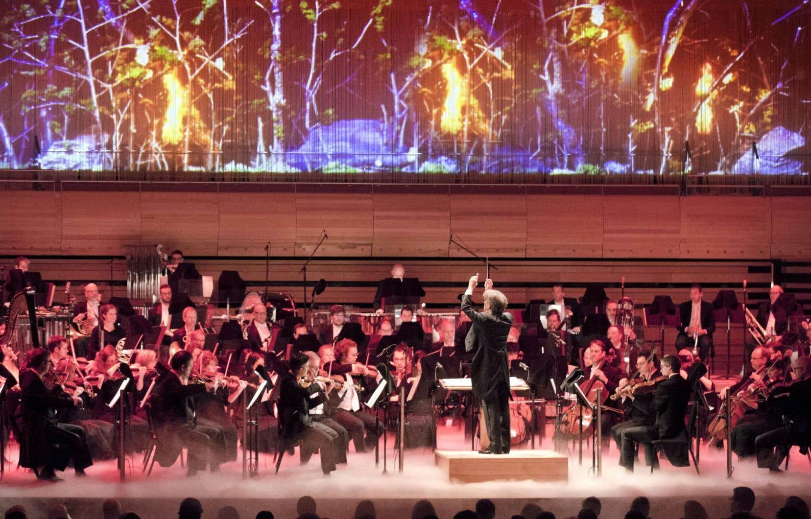 Dans le projet de «Symphonie montréalaise», le seul moment donnant une vague illusion de symbiose, c'est le 2e mouvement, le scherzo, sur le thème du feu.<br />