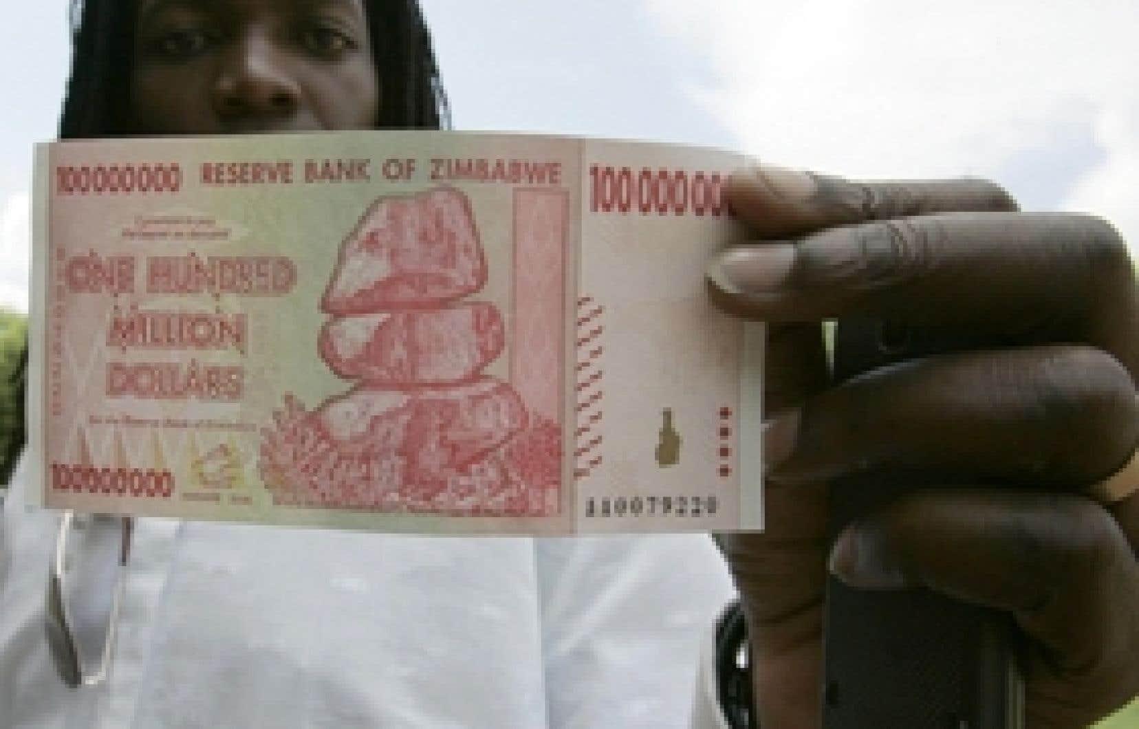 La Banque centrale du Zimbabwe a annoncé hier l'émission d'un nouveau billet valant 100 millions de dollars.