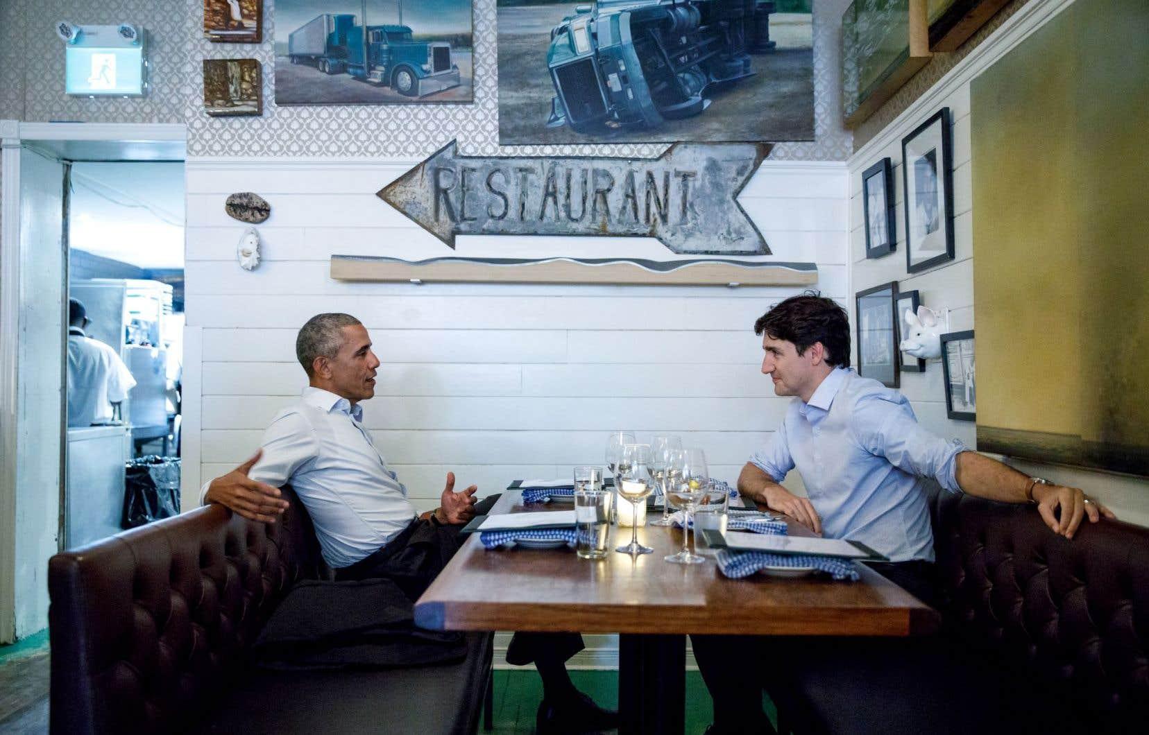 L'attention des médias a surtout été captée par le souper entre Barack Obama et Justin Trudeau après la conférence de mardi, dans un restaurant montréalais.