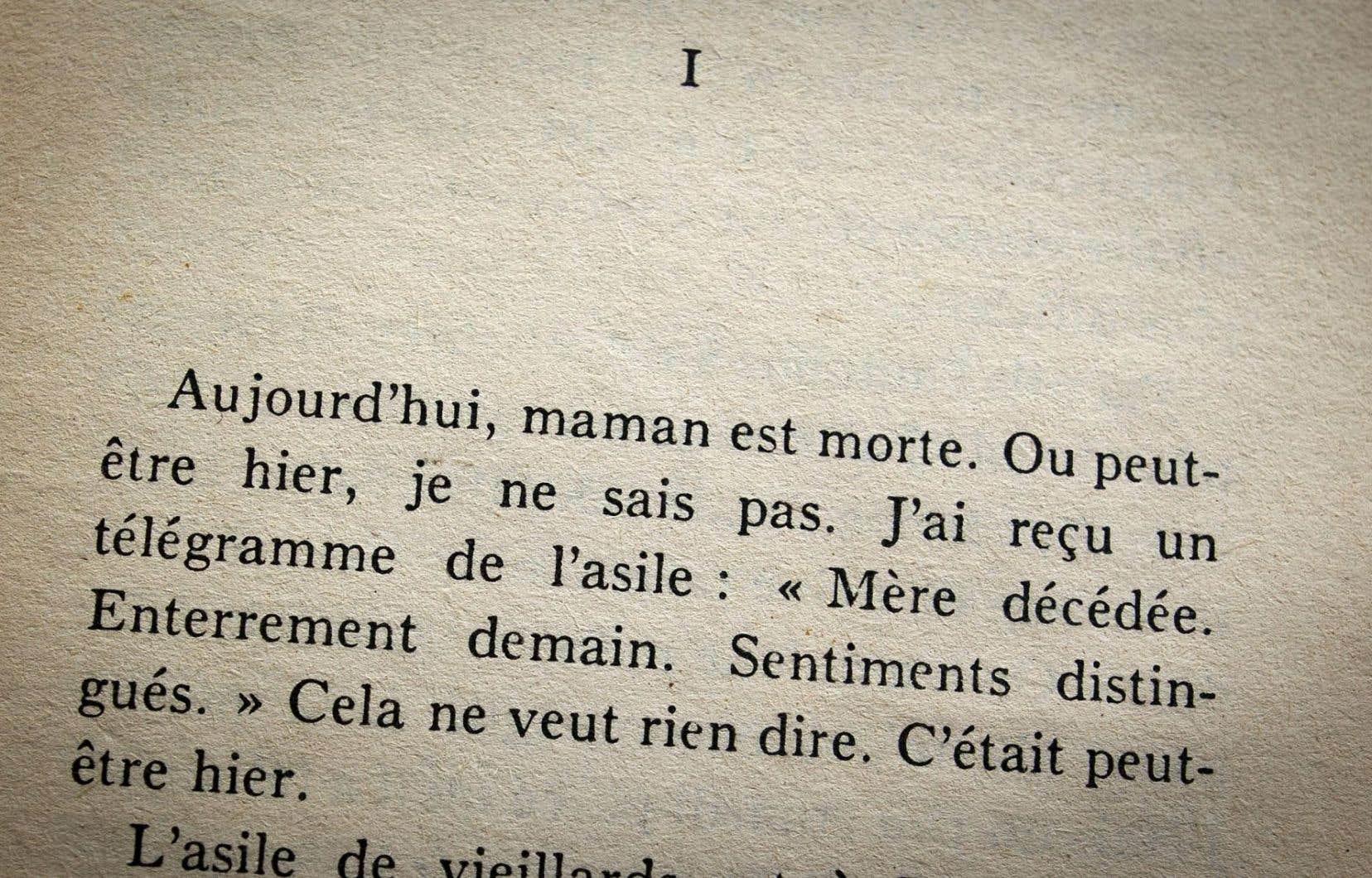 Premières lignes de «L'étranger» d'Albert Camus