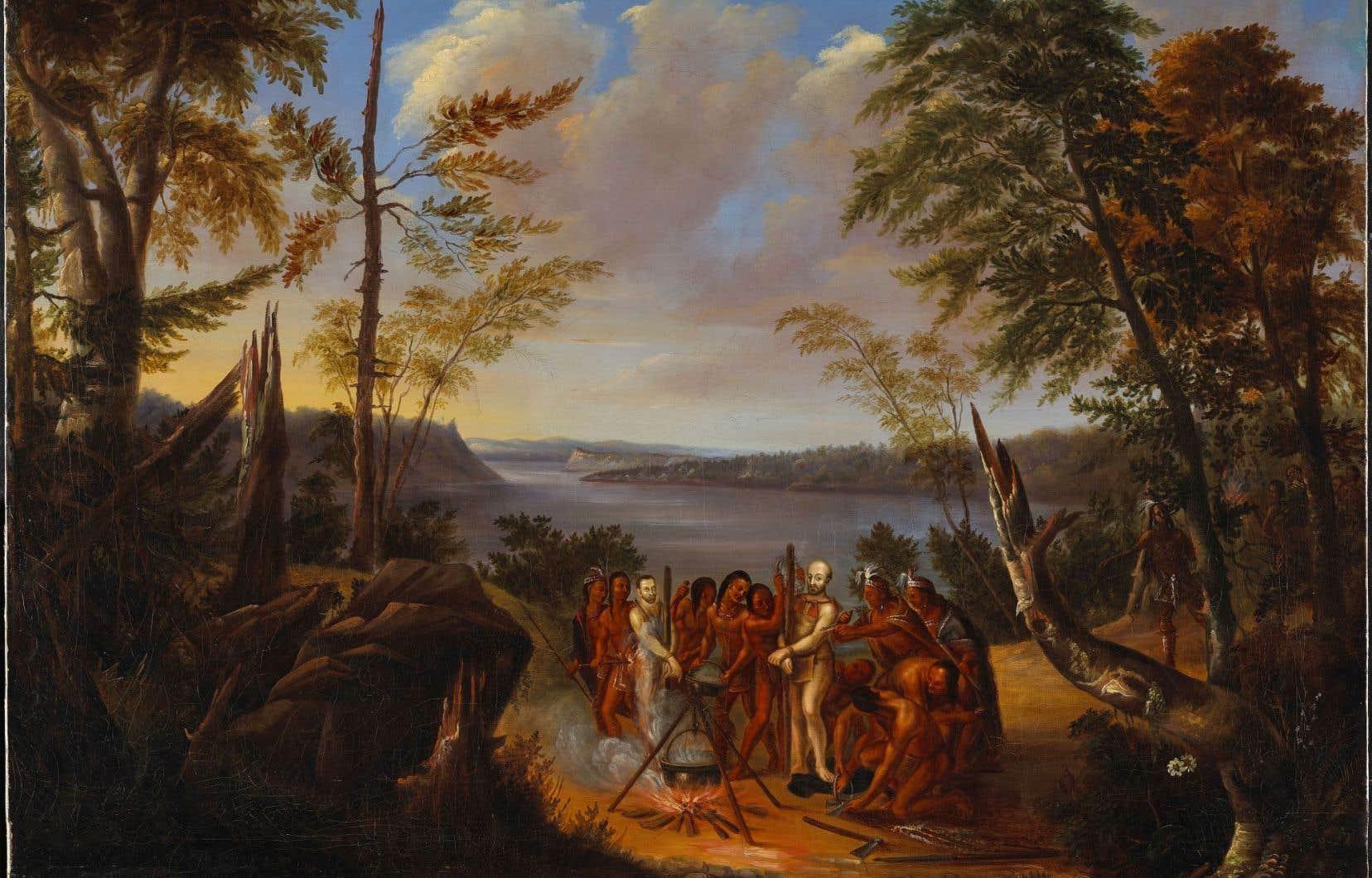 «Le martyre des pères Brébeuf et Lalemant» de Joseph Légaré, vers 1843
