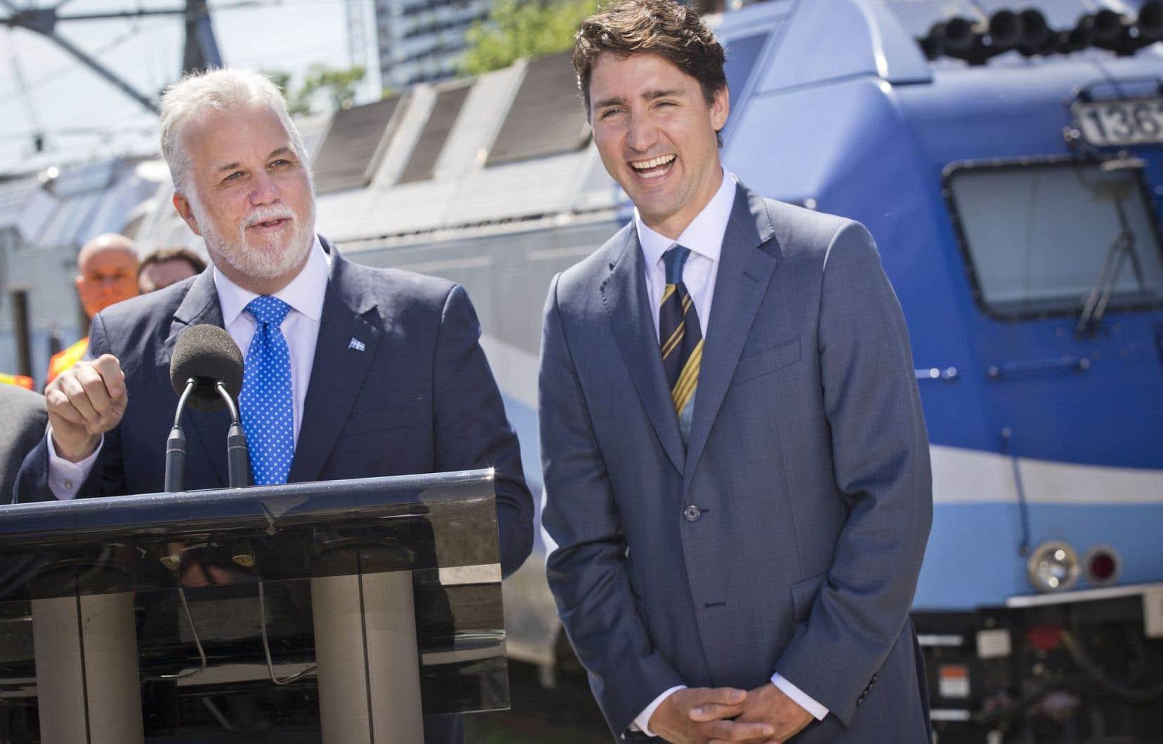 Le premier ministre du Québec, Philippe Couillard, et son homologue fédéral, Justin Trudeau<br />