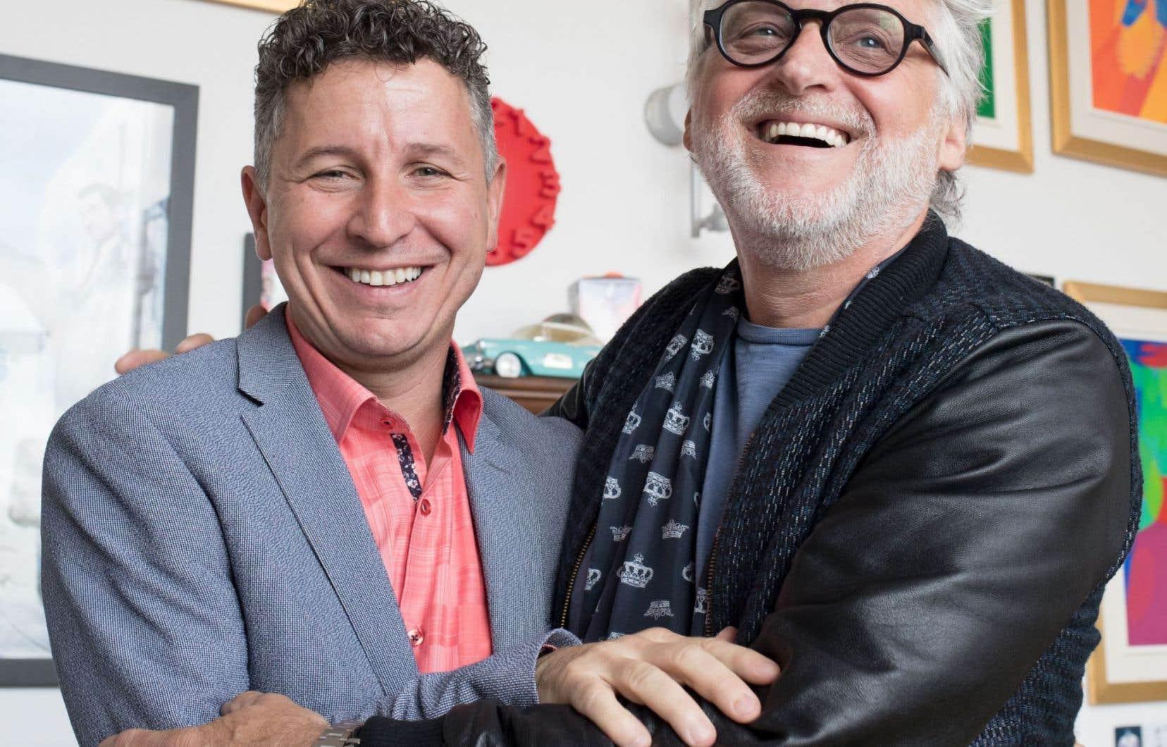 Jeannot Painchaud, président et directeur artistique du Cirque Éloize, et Gilbert Rozon, chef de direction du festival Juste pour rire, ont annoncé leur collaboration à Paris.
