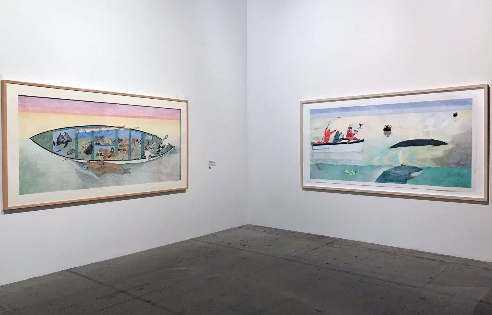 Kananginak Pootoogook, «Untitled (Successful Walrus Hunt)», 2009 et «Whale Hunt», 2009