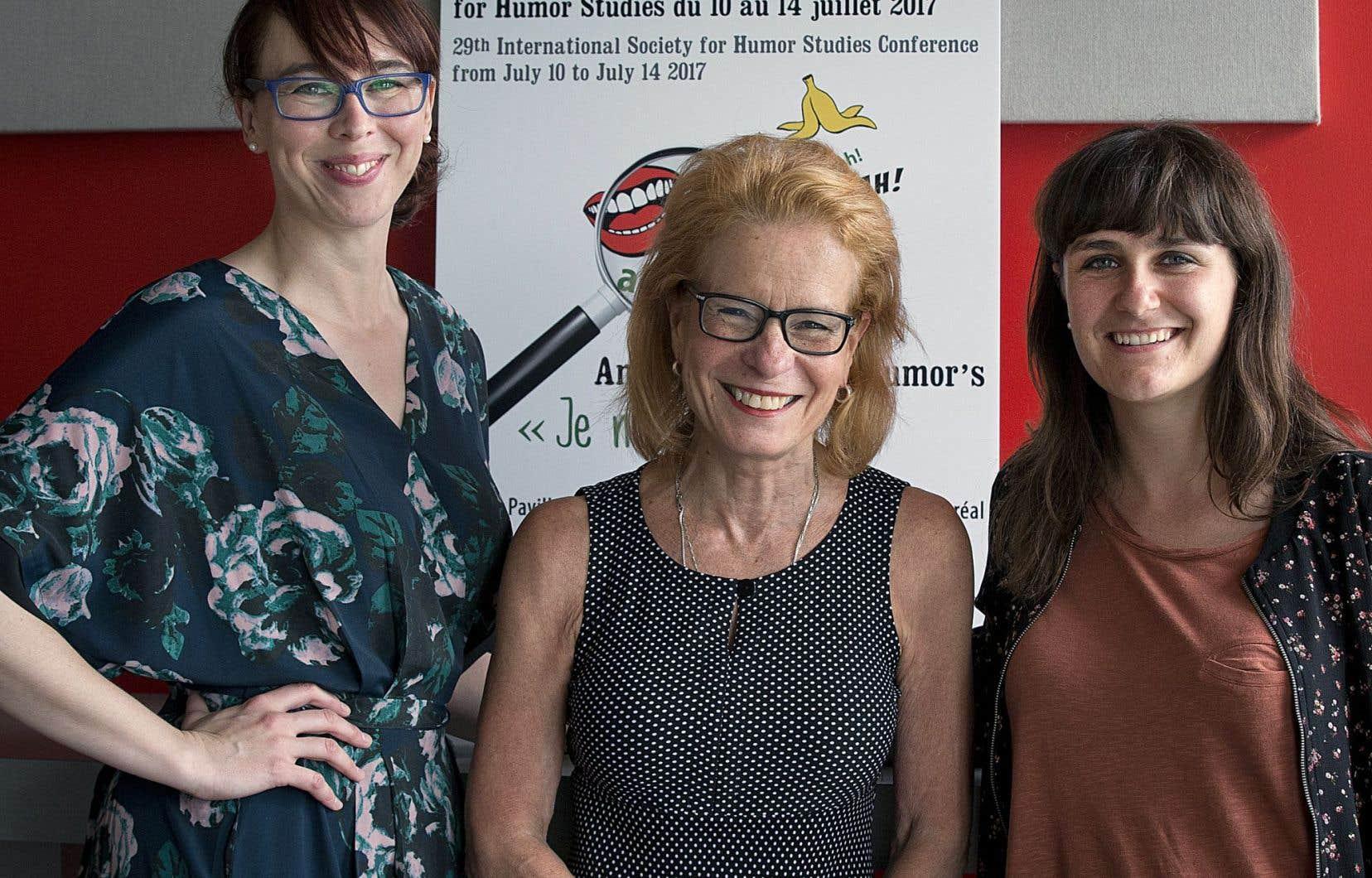 Christelle Paré, membre du comité organisateur de l'ISHS-Montréal, Louise Richer, directrice de l'École nationale de l'humour, et Julie Dufort, doctorante en science politique à l'UQAM et professeure à l'École nationale de l'humour