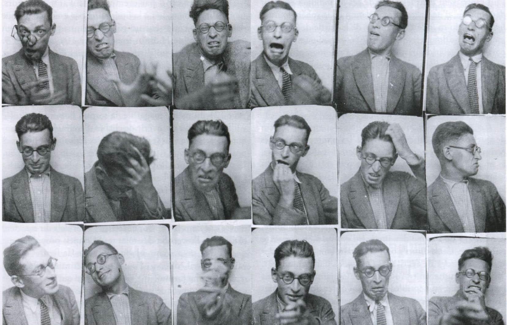 Détail d'une série de portraits de Raymond Queneau, croqués dans un photomaton en 1928