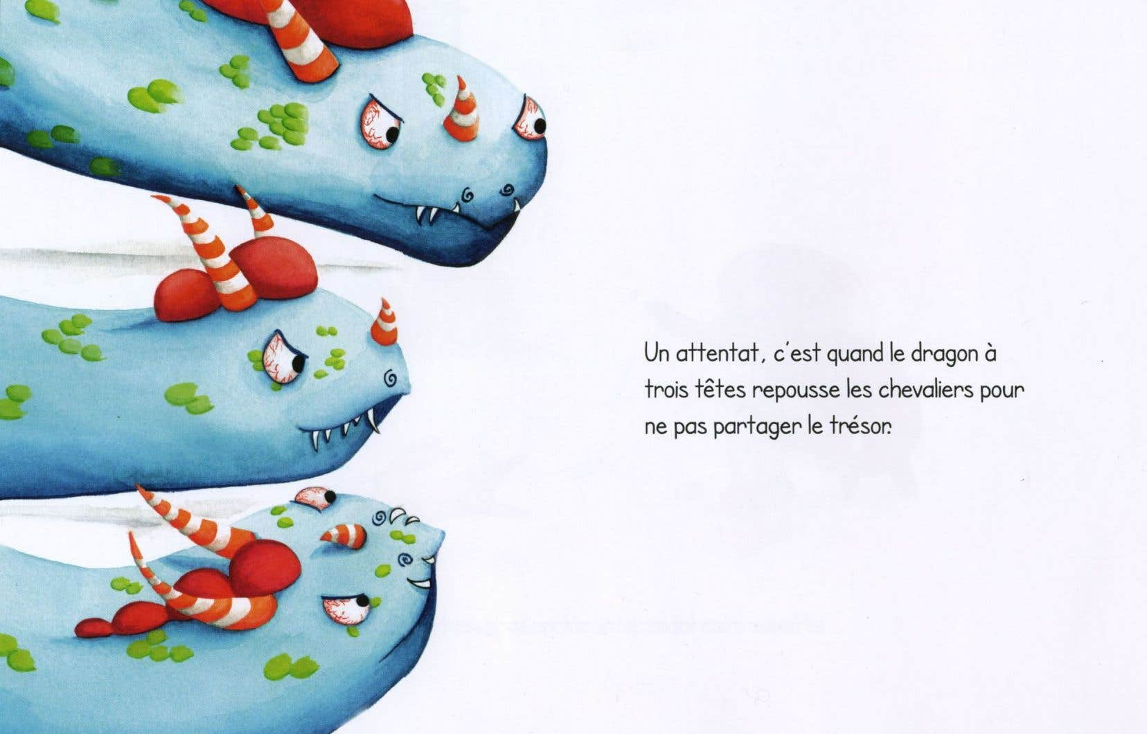 Une page du livre «Dis, c'est quoi un attentat?», d'Oulya Setti