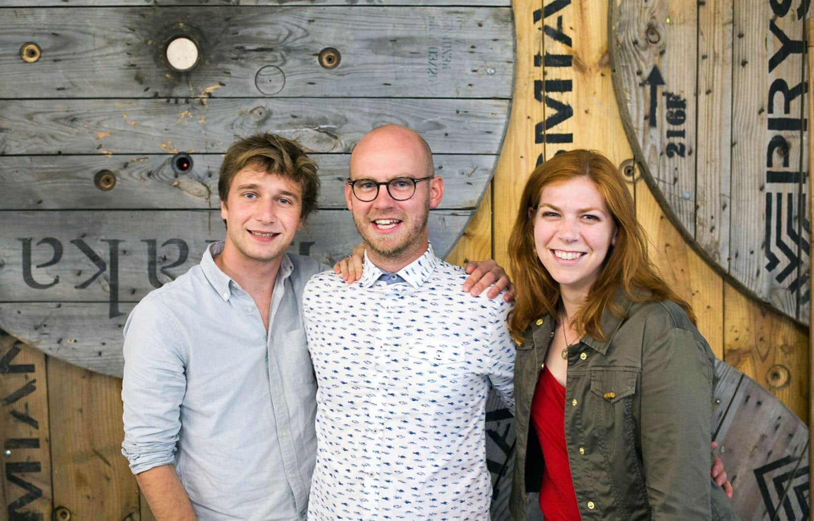 Julien Le Net, Olivier Demers-Dubé et Émilie Nollet sont les entrepreneurs derrière ÉAU, une jeune compagnie d'aquaponie.