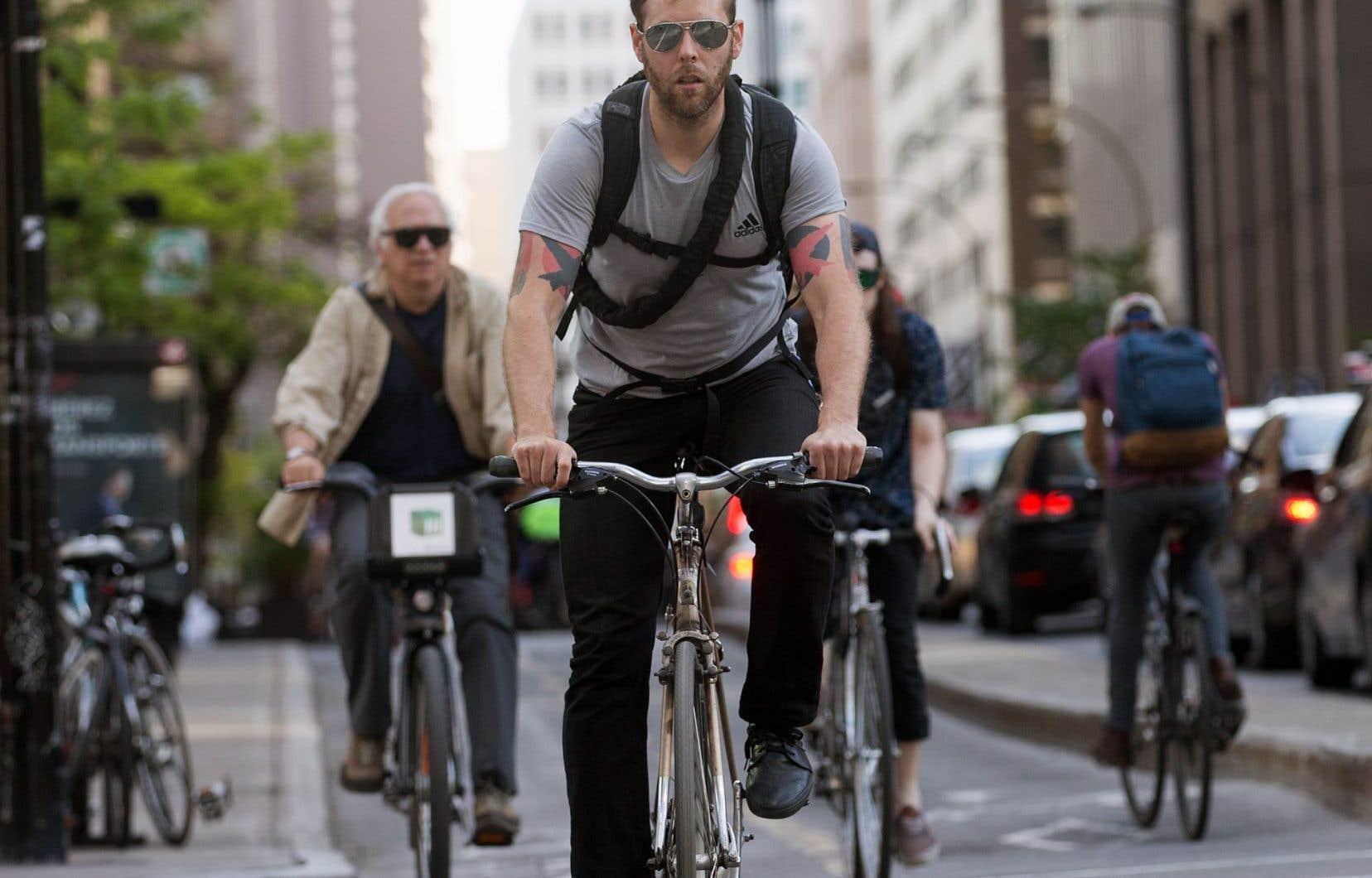 Le nombre de déplacements à vélo a augmenté de 69% dans la grande région de Montréal entre les années2003 et2013.