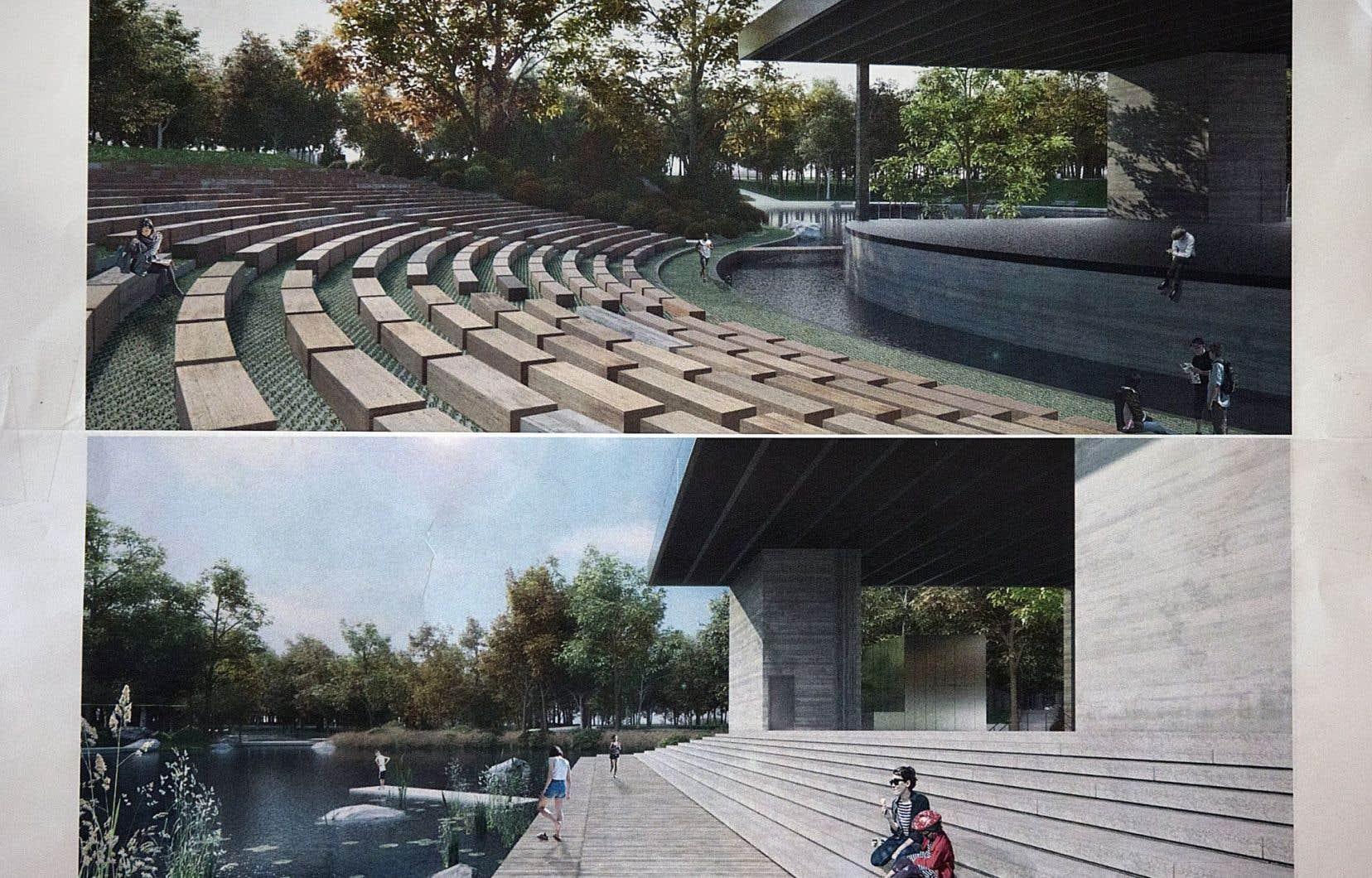 Les plans proposés ont été dessinés par l'architecte Paul Laurendeau, qui a conçu le fameux amphithéâtre en plein air de Trois-Rivières.