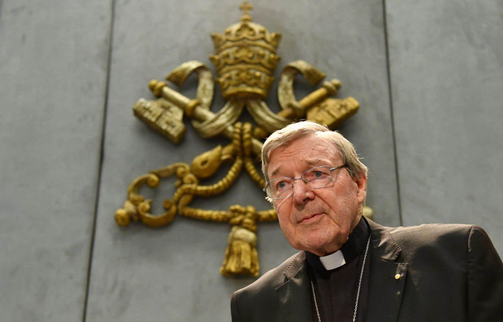 Le cardinal George Pell au Vatican, après son inculpation pour des soupçons d'agression sexuelle, le 29 juin dernier.