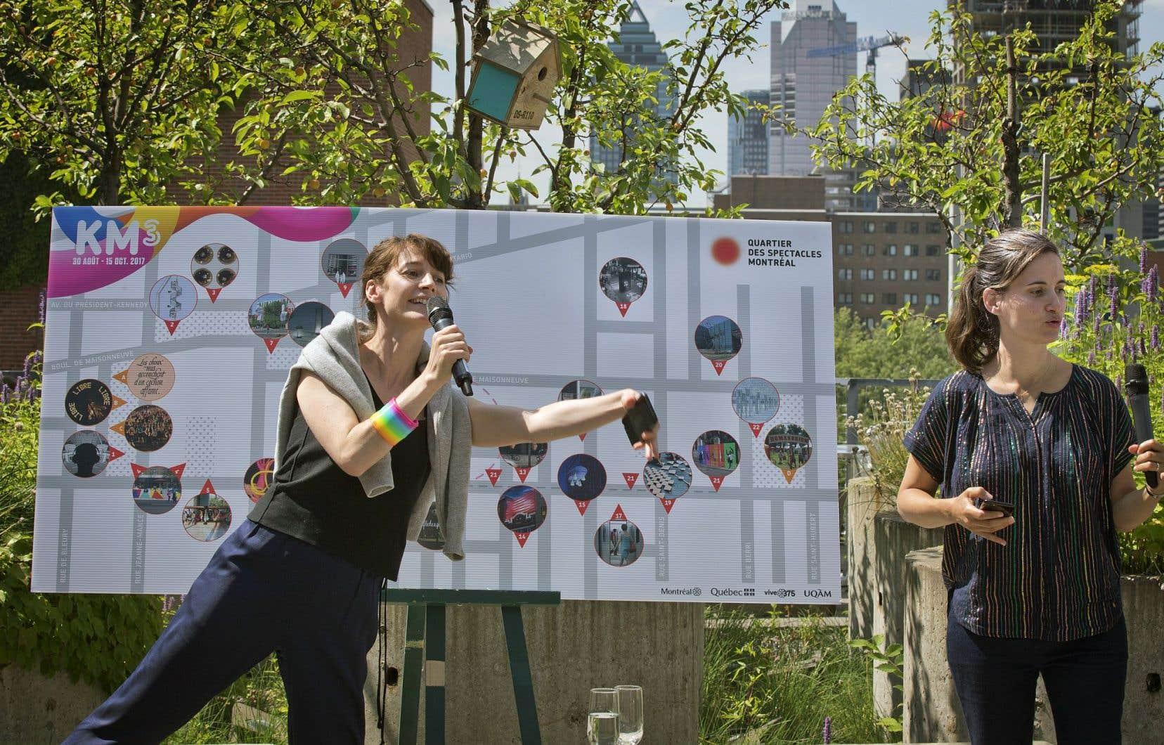 La programmation du parcours-exposition «KM3» a été confiée à Melissa Mongiat et Mouna Andraos, le duo d'artistes derrière le collectif Daily tous les jours.