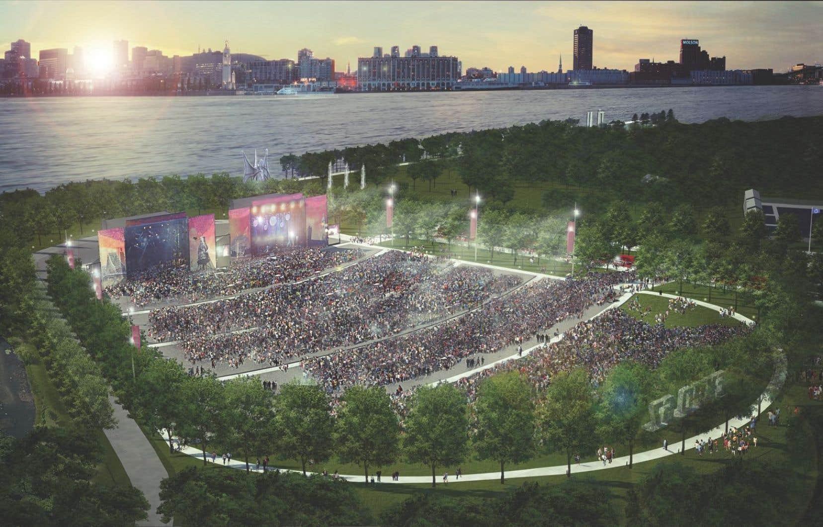 Le nouvel aménagement du parc Jean-Drapeau comprendra la construction d'un amphithéâtre naturel de 65000 places.