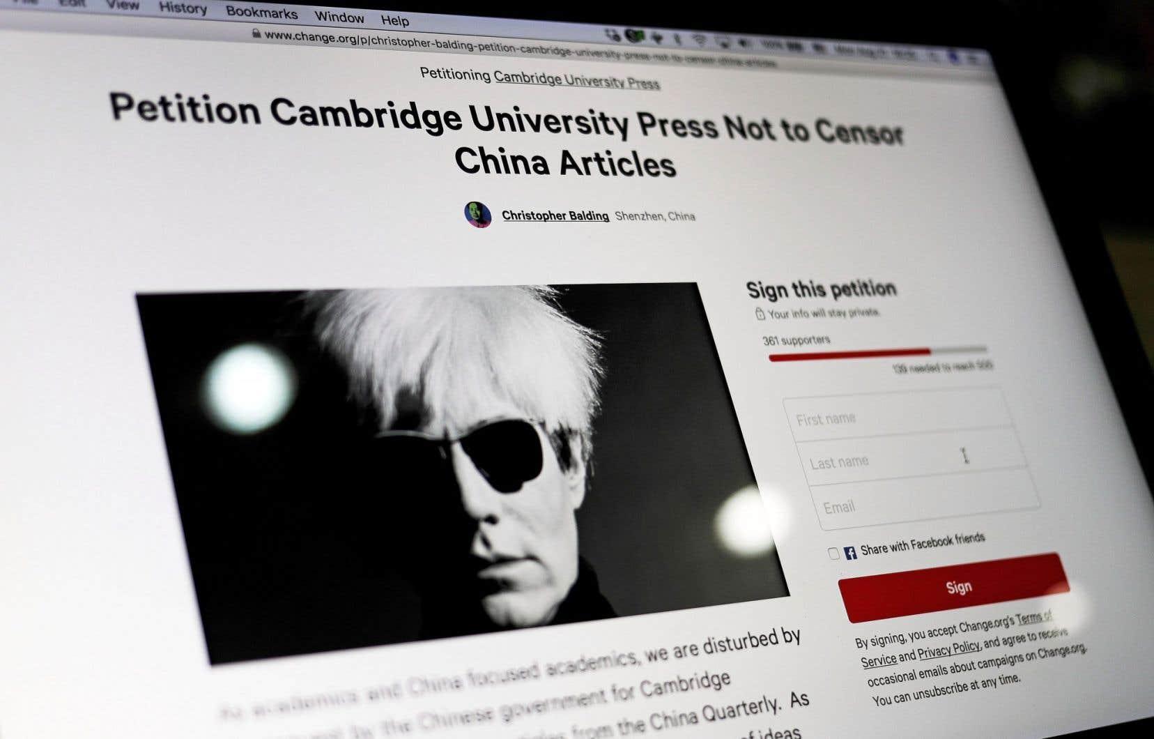 Une pétition avait notamment réuni 800 signatures pour appeler «la Cambridge University Press à refuser la demande de censure».