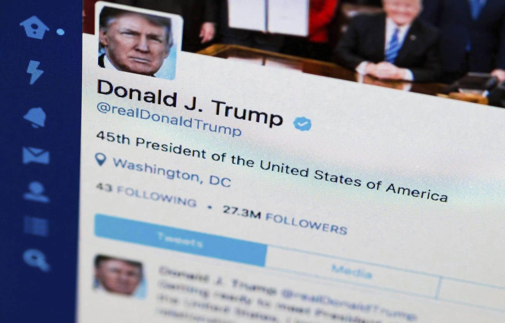 Le compte Twitter du président américain Donald Trump
