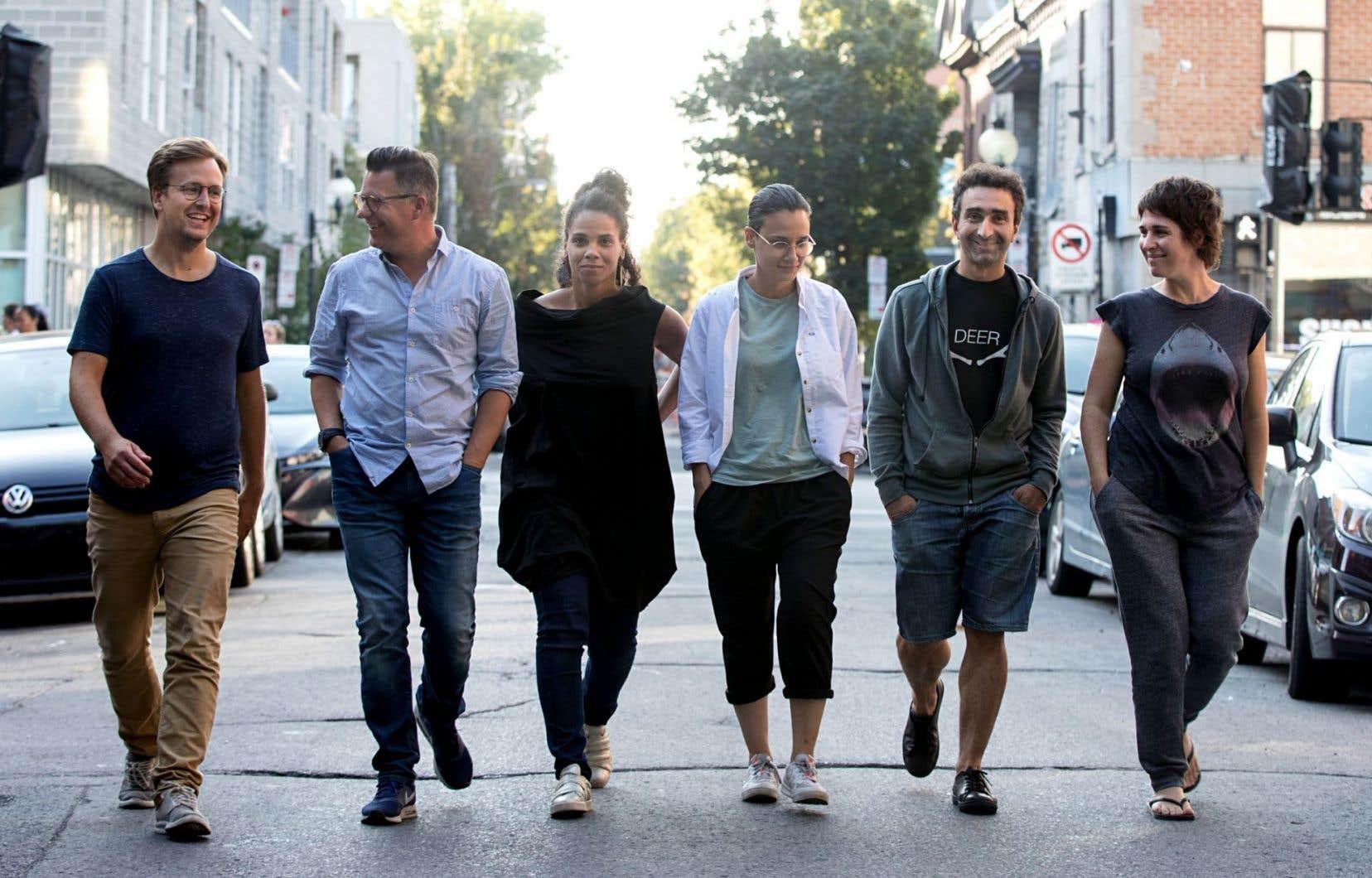 Les six metteurs en scène de cette folle et ambitieuse aventure: Jean-Simon Traversy, Dave Jenniss, Mélanie Demers, Chloé Robichaud, Bachir Bensaddek et Nini Bélanger