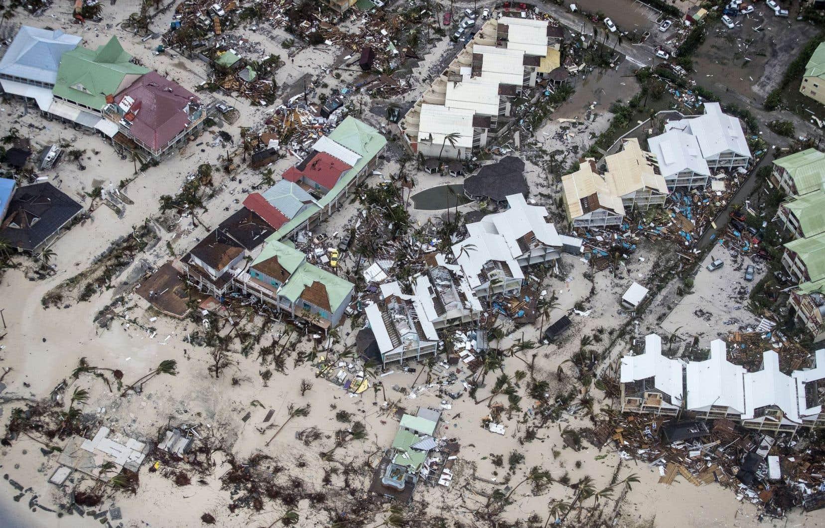 Une photographie aérienne de Philipsburg, sur l'île Saint-Martin, après le passage de l'ouragan Irma.
