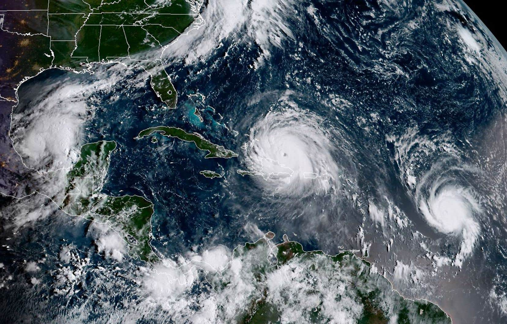 Cette image satellite montre, de gauche à droite, les ouragans «Katia», «Irma» et «Jose», le 7 septembre 2017.