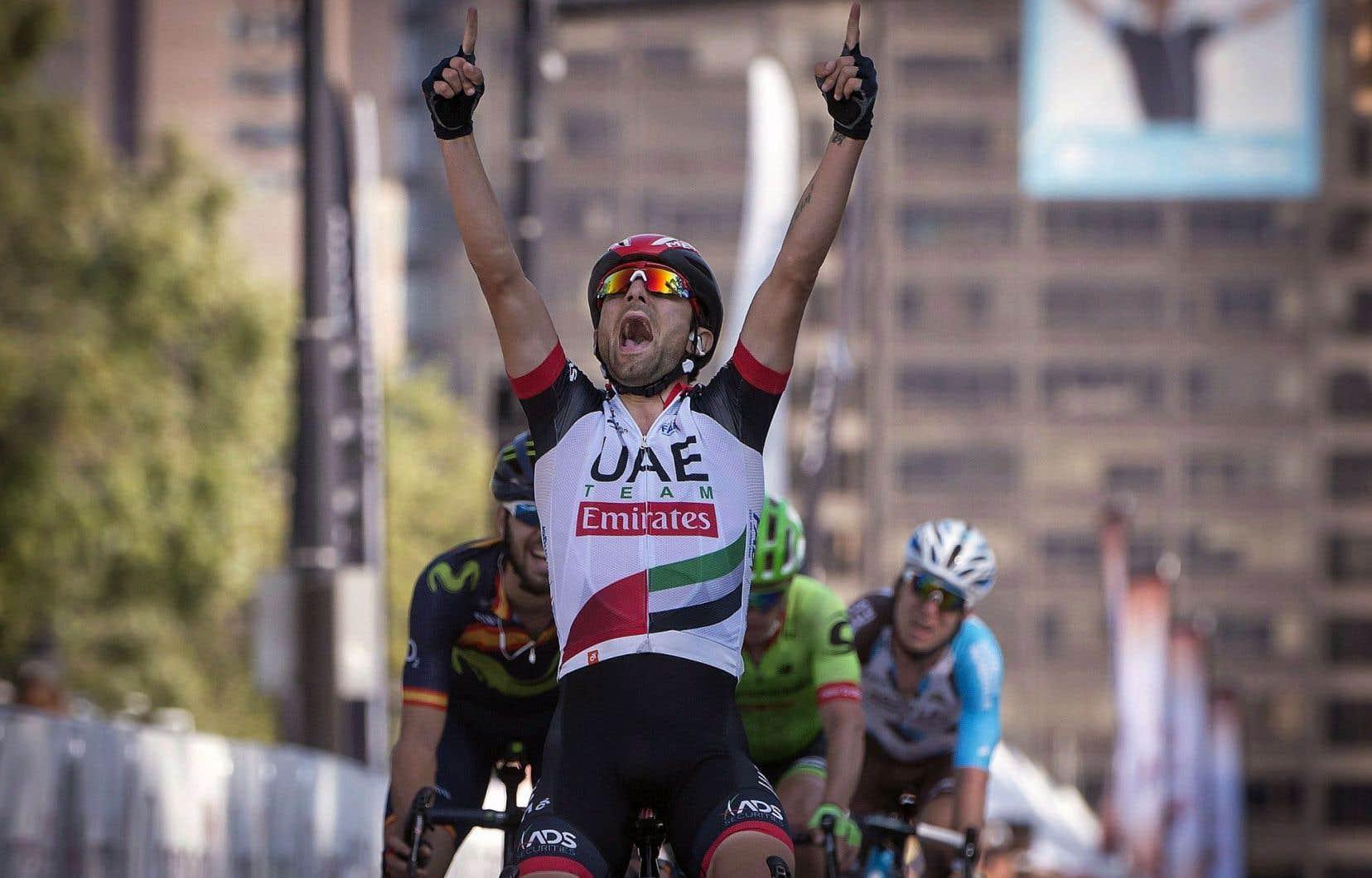 L'Italien Diego Ulissi a laissé éclaté sa joie à l'arrivée malgré une victoire sur le fil.