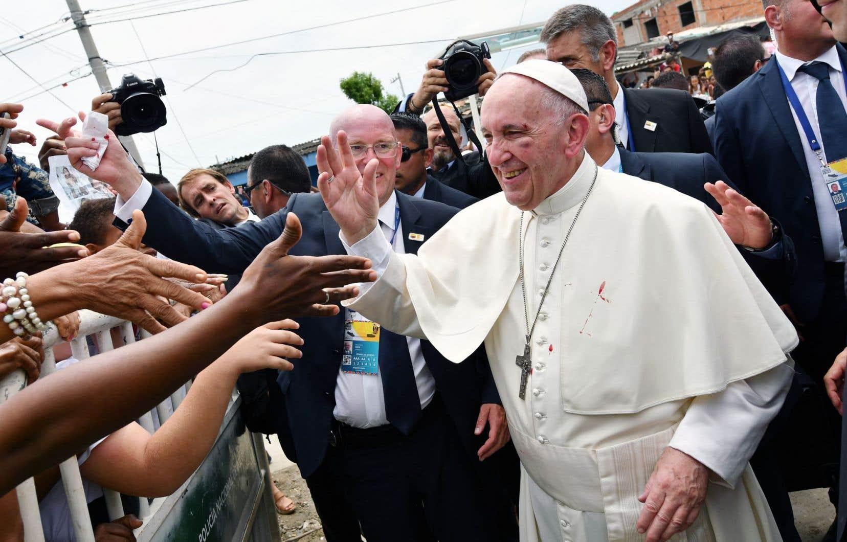 Le pape Françoisétait dans la ville portuaire de Carthagène des Indes, dimanche.