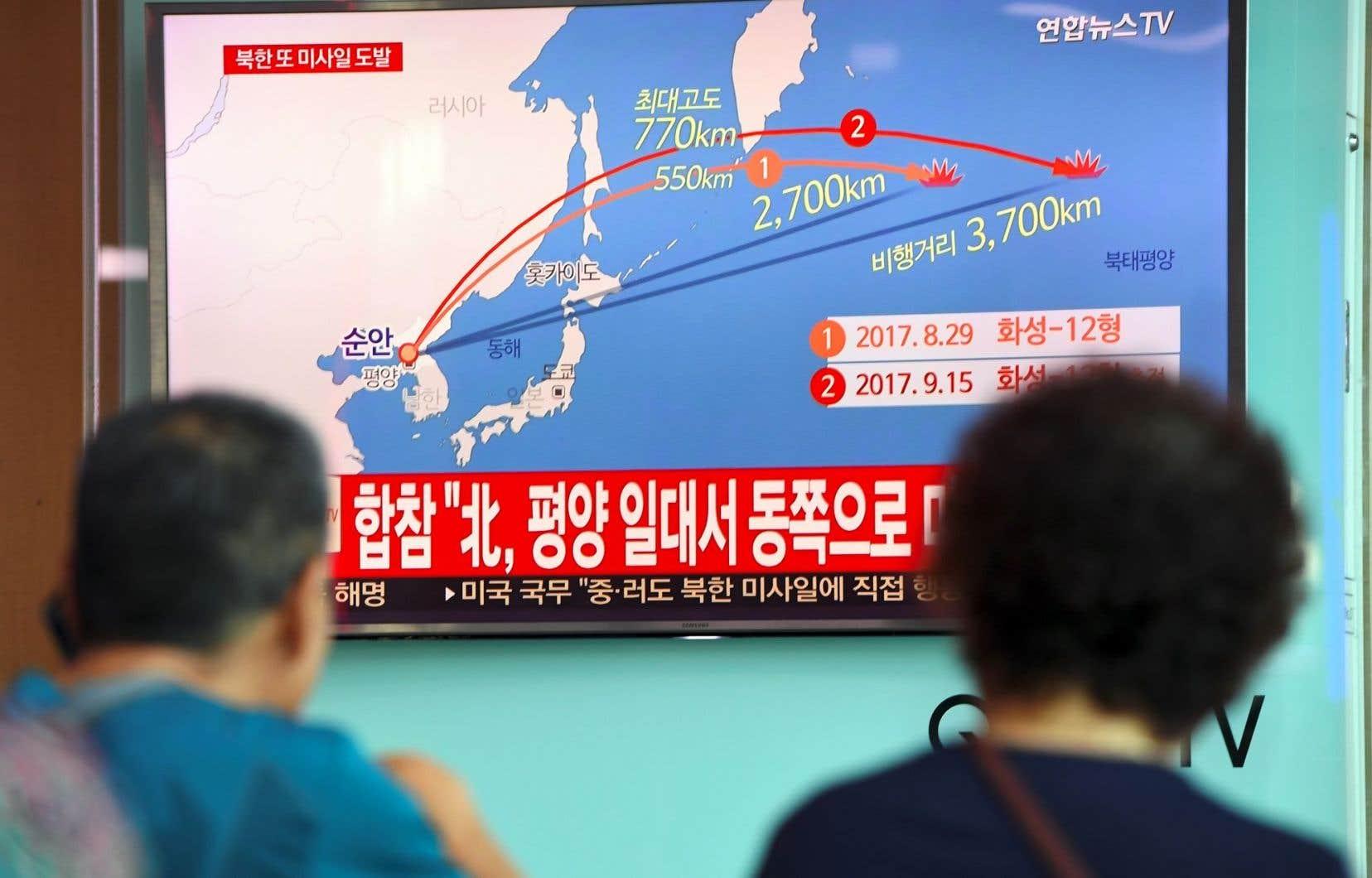 Ce tir est la réponse du régime de Pyongyang au huitième train de sanctions voté à l'unanimité par le conseil de sécurité des Nations unies.