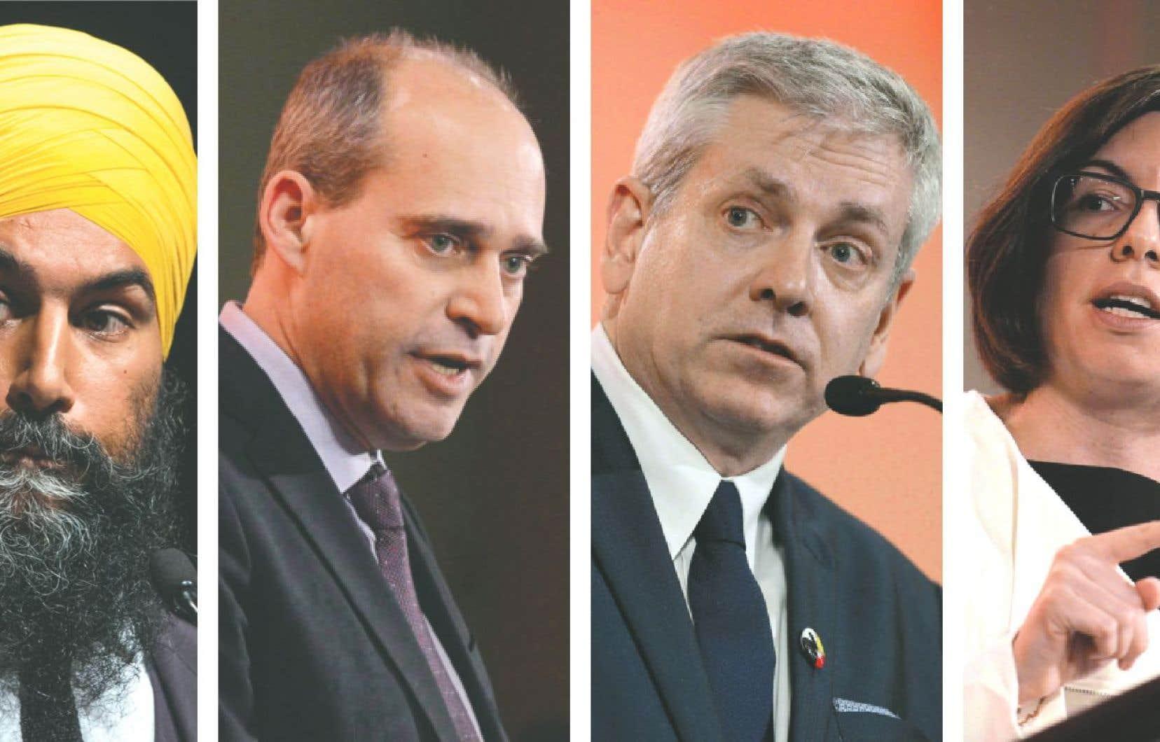 Les quatre candidats en lice pour succéder à Thomas Mulcair, de gauche à droite: Jagmeet Singh, Guy Caron, Niki Ashton et Charlie Angus
