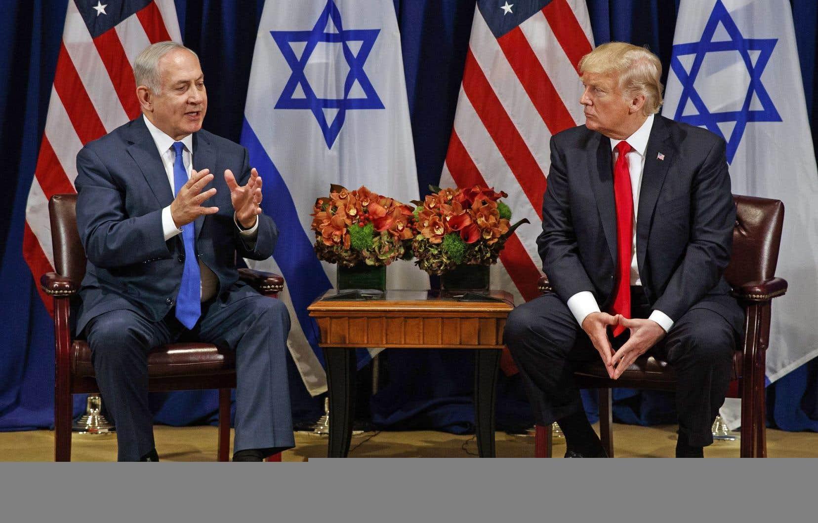 Donald Trump a rencontré lundi le premier ministre israélien, Benjamin Nétanyahou, qui a réitéré son aversion pour «l'épouvantable accord nucléaire avec l'Iran», dont il réclame l'annulation, ou au minimum la révision.