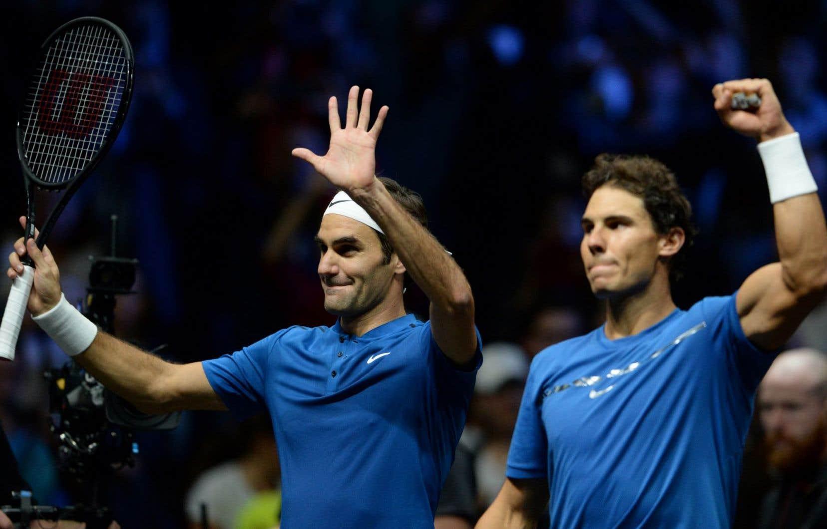 L'Espagnol Rafael Nadal et le Suisse Roger Federer étaient réunis en tandem pour la première fois.