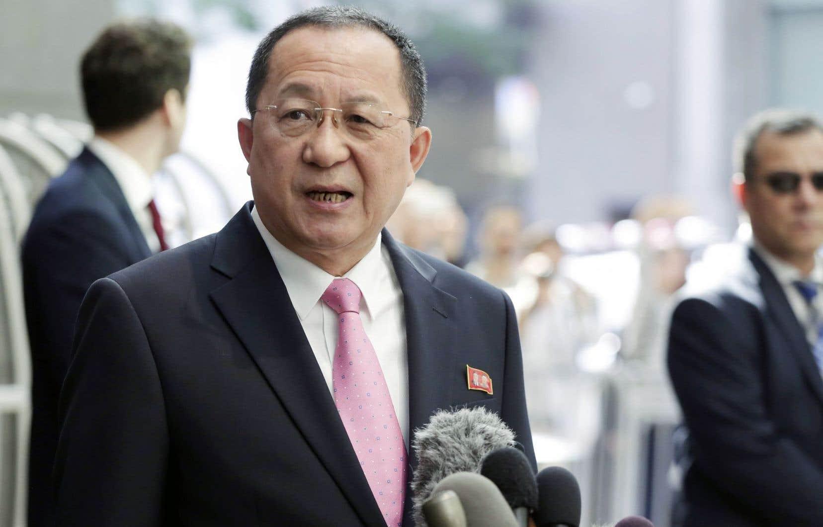 Le chef de la diplomatie nord-coréenne, Ri Yong Ho, s'est adressé aux médias, lundi à New York.