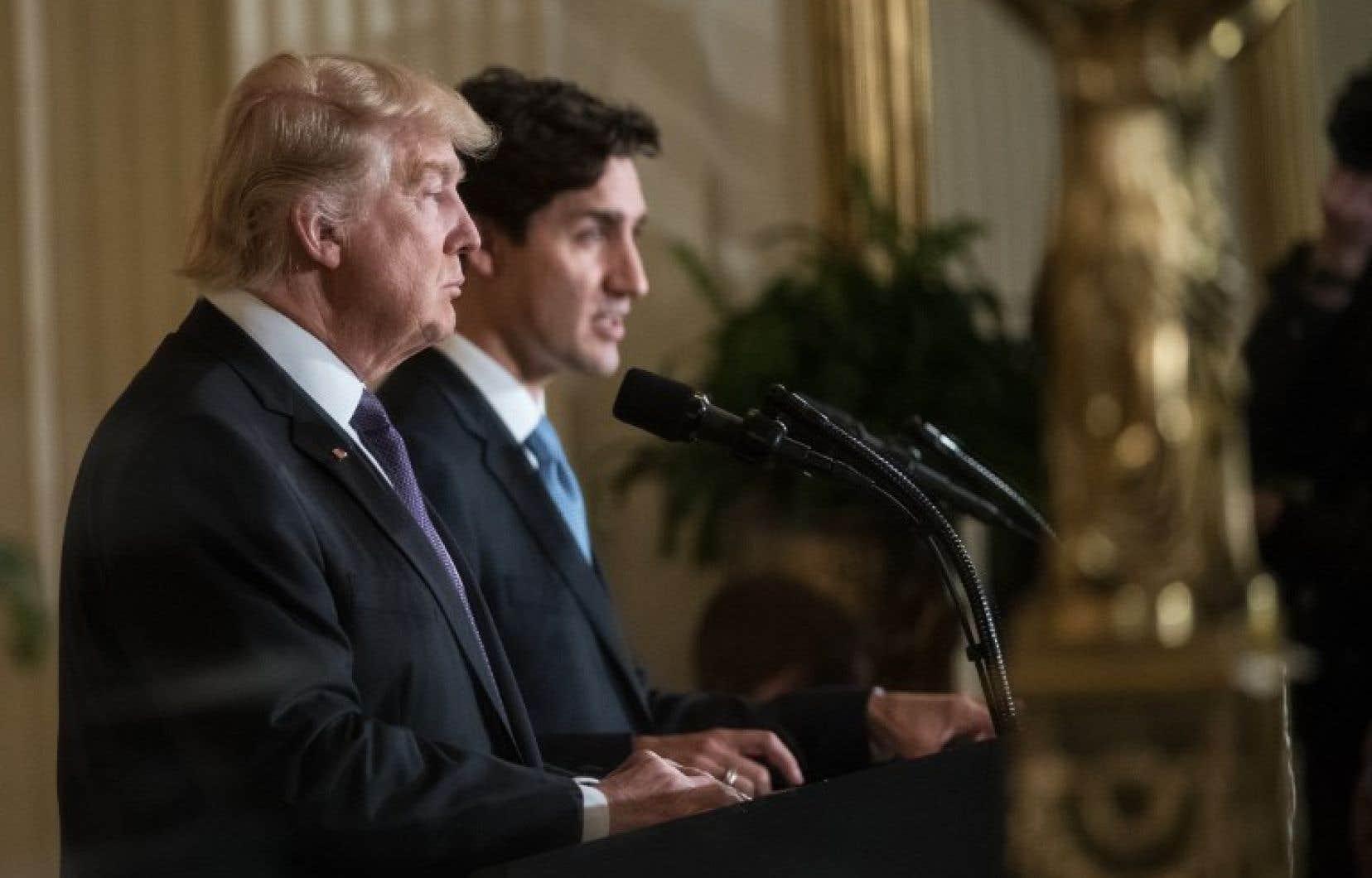 Le président américain, Donald Trump, et le premier ministre canadien, Justin Trudeau