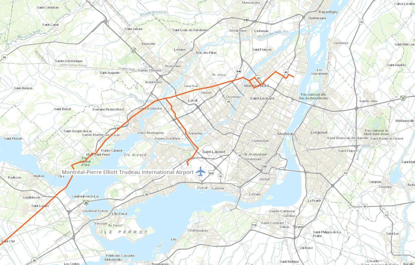 Carte du tracé du pipeline Trans-Nord dans la région de Montréal.