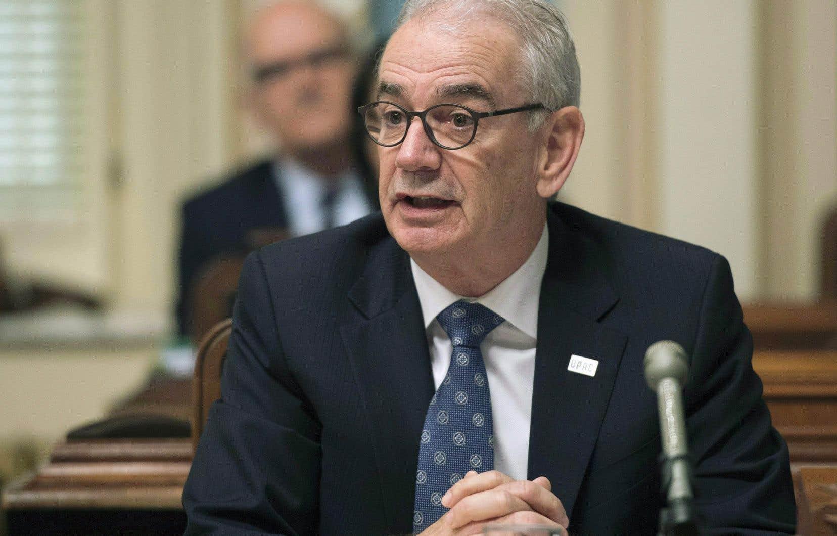 Le commissaire de l'Unité permanente anticorruption (UPAC), Robert Lafrenière